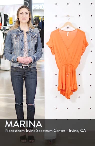 Ruffle Sleeve Cover-Up Romper, sales video thumbnail