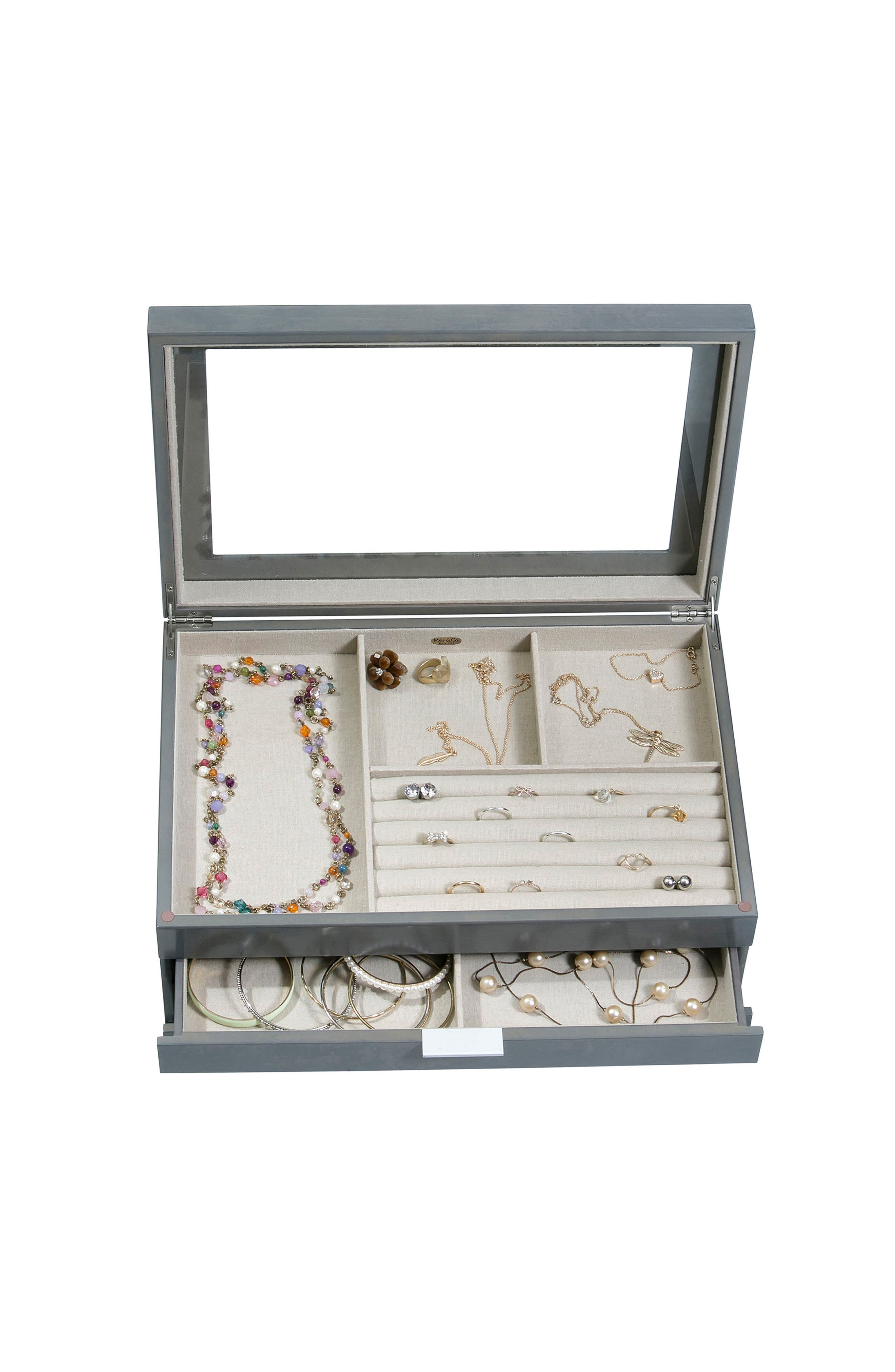 Misty Glass Top Jewelry Box,                             Alternate thumbnail 5, color,                             GRAY