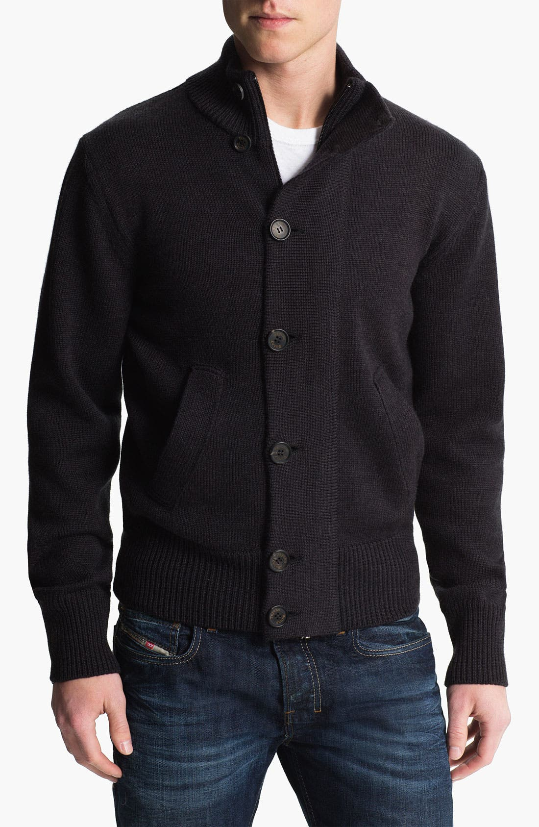 Mock Neck Merino Wool Sweater,                         Main,                         color, 010