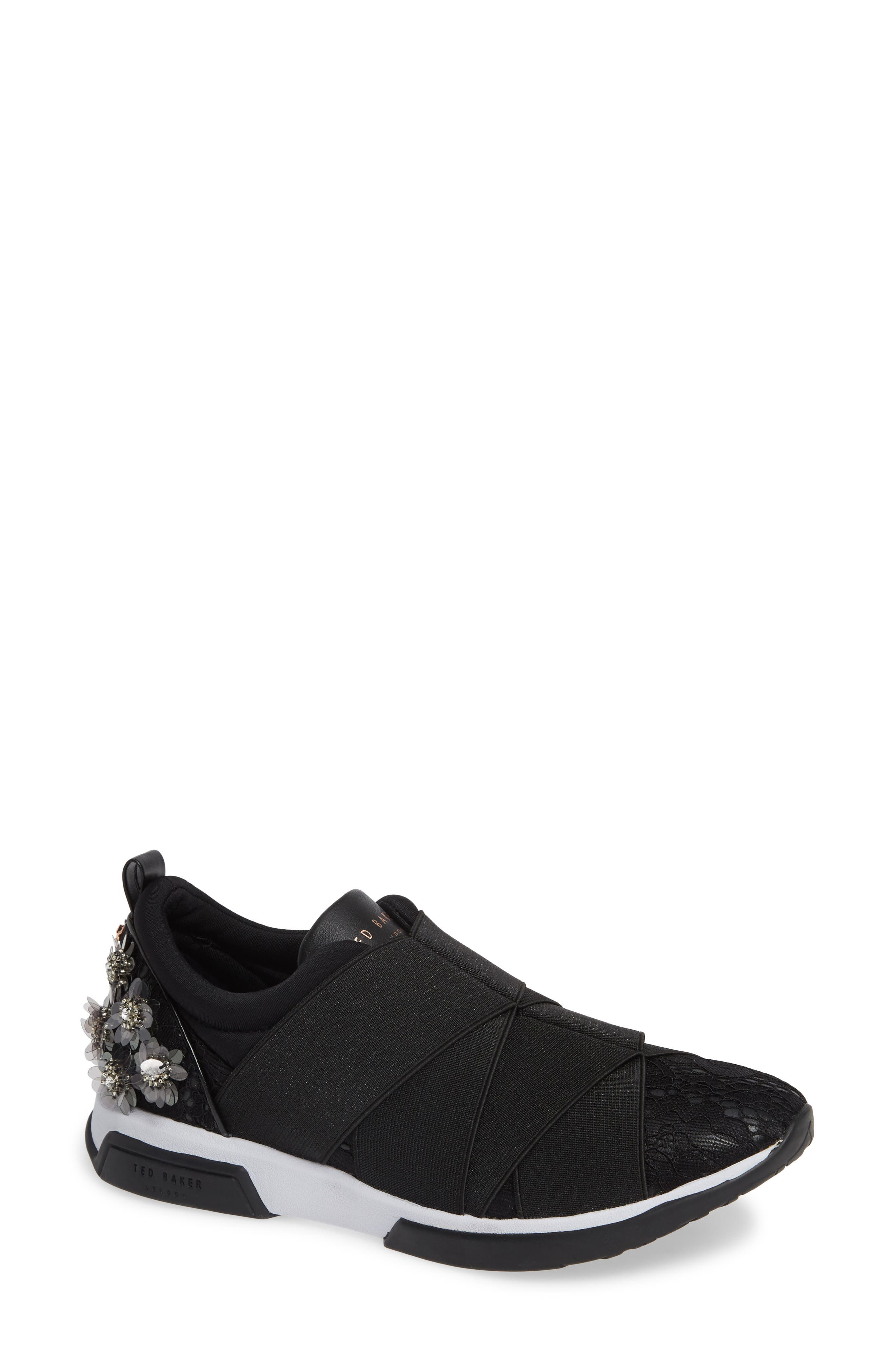 Queanel Sneaker,                             Main thumbnail 1, color,                             BLACK FABRIC