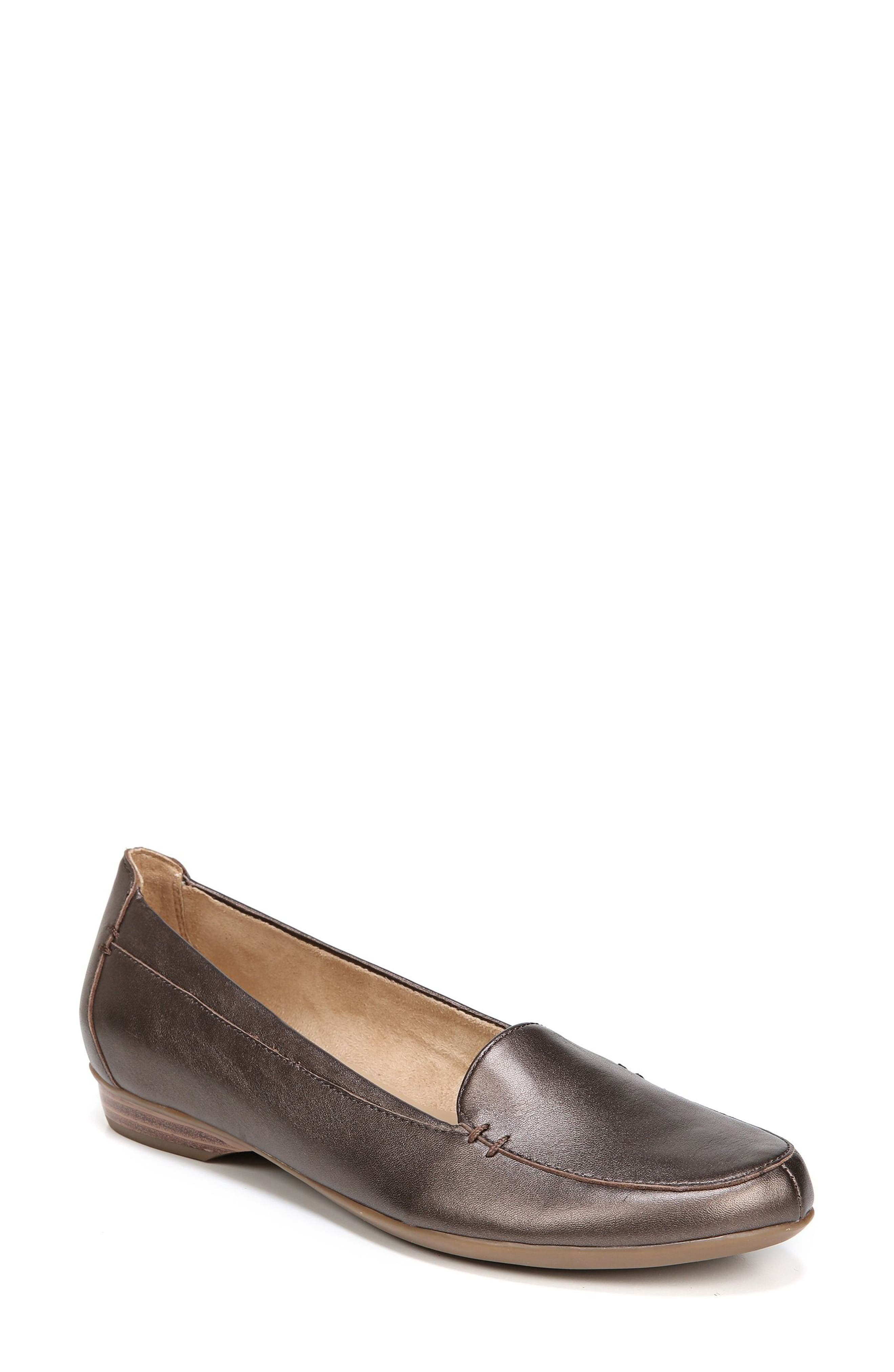'Saban' Leather Loafer,                             Main thumbnail 1, color,                             BROWN BRONZE LEATHER