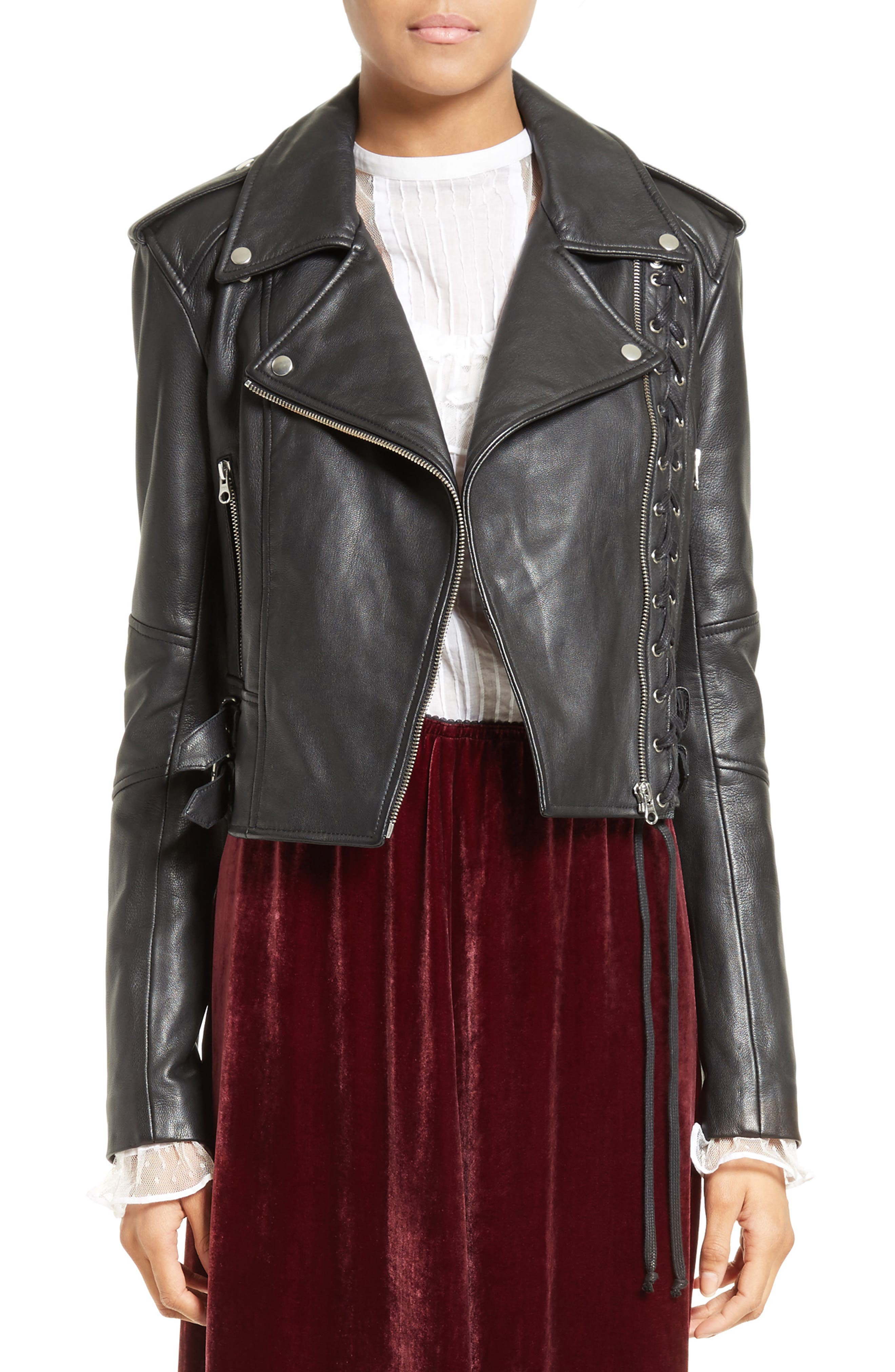 Lace-Up Leather Jacket,                         Main,                         color, 001