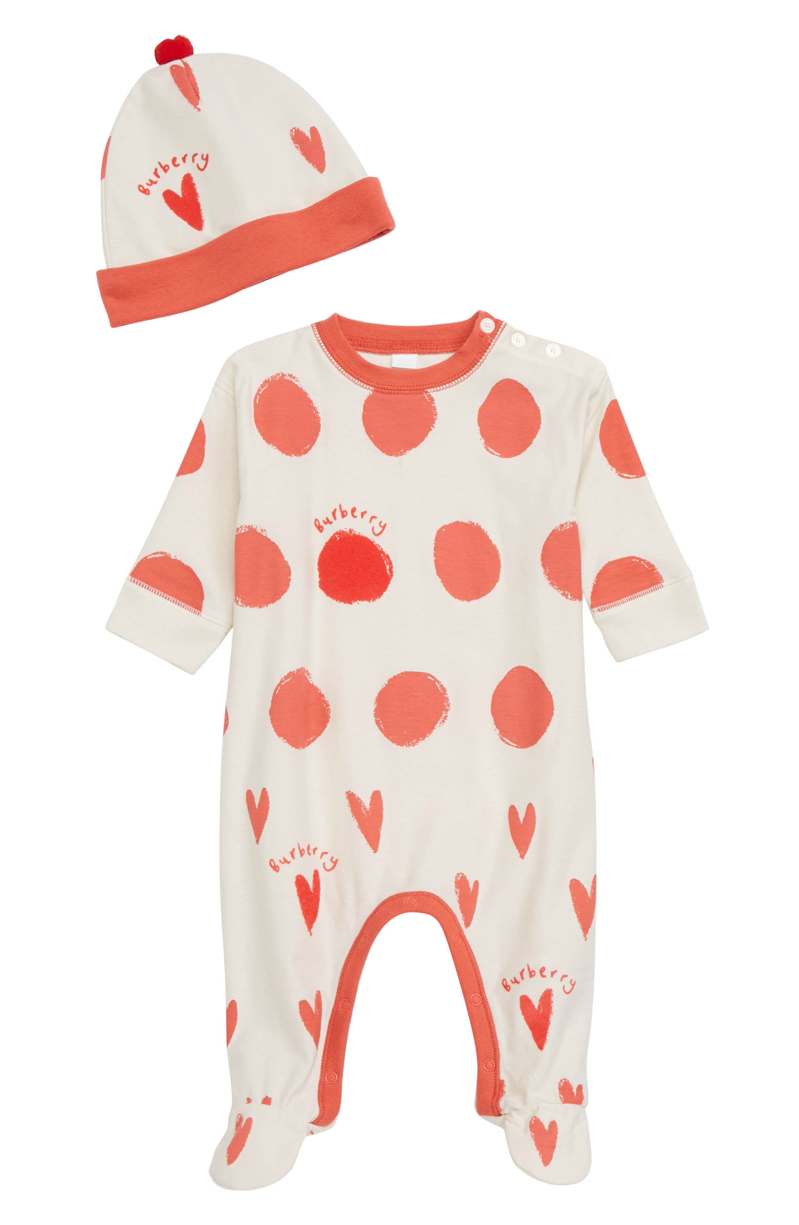 Hearts & Dots Footie & Hat Set,                             Main thumbnail 1, color,                             BRIGHT RED