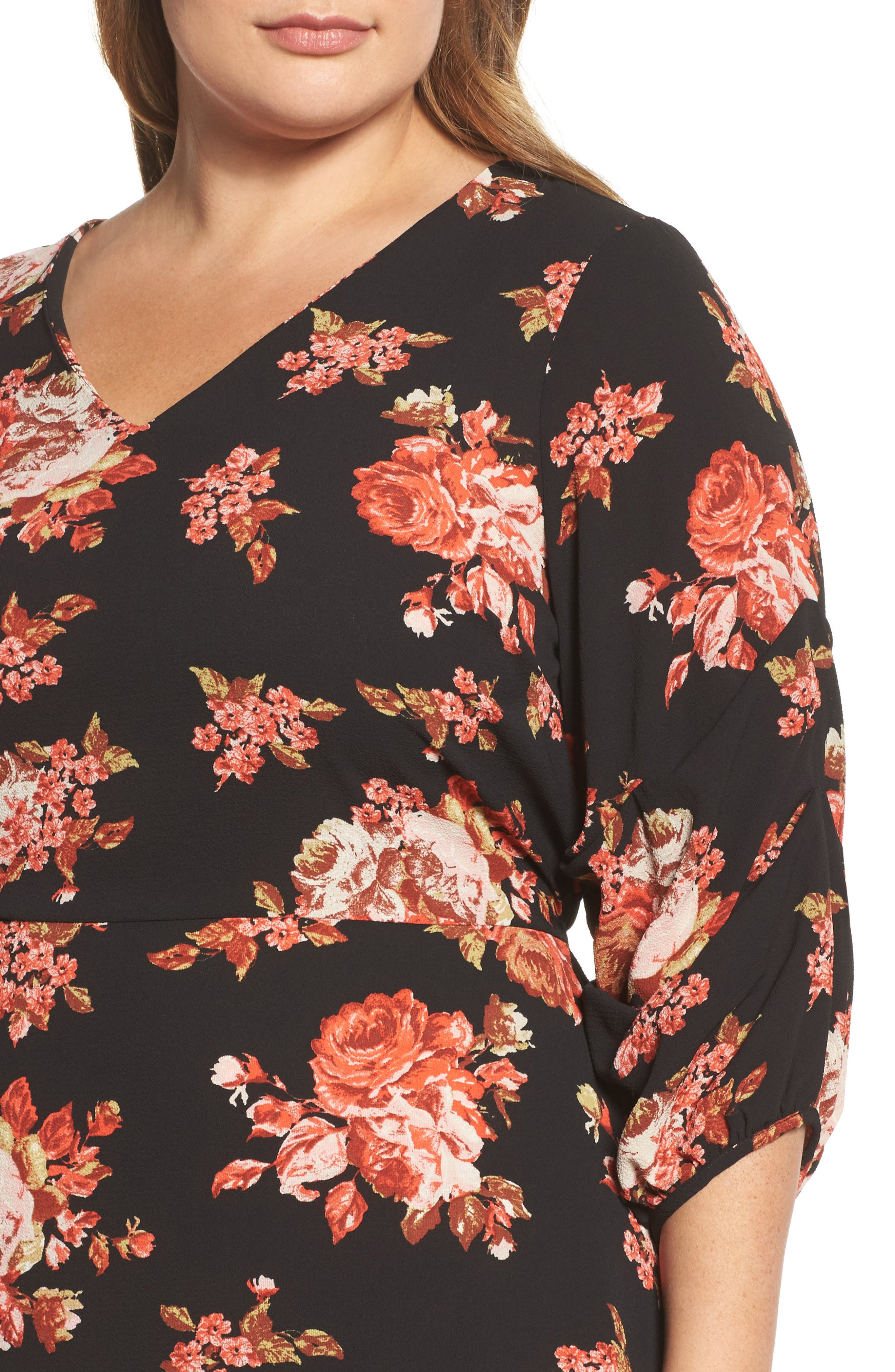 V-Neck Floral Print Dress,                             Alternate thumbnail 4, color,                             600