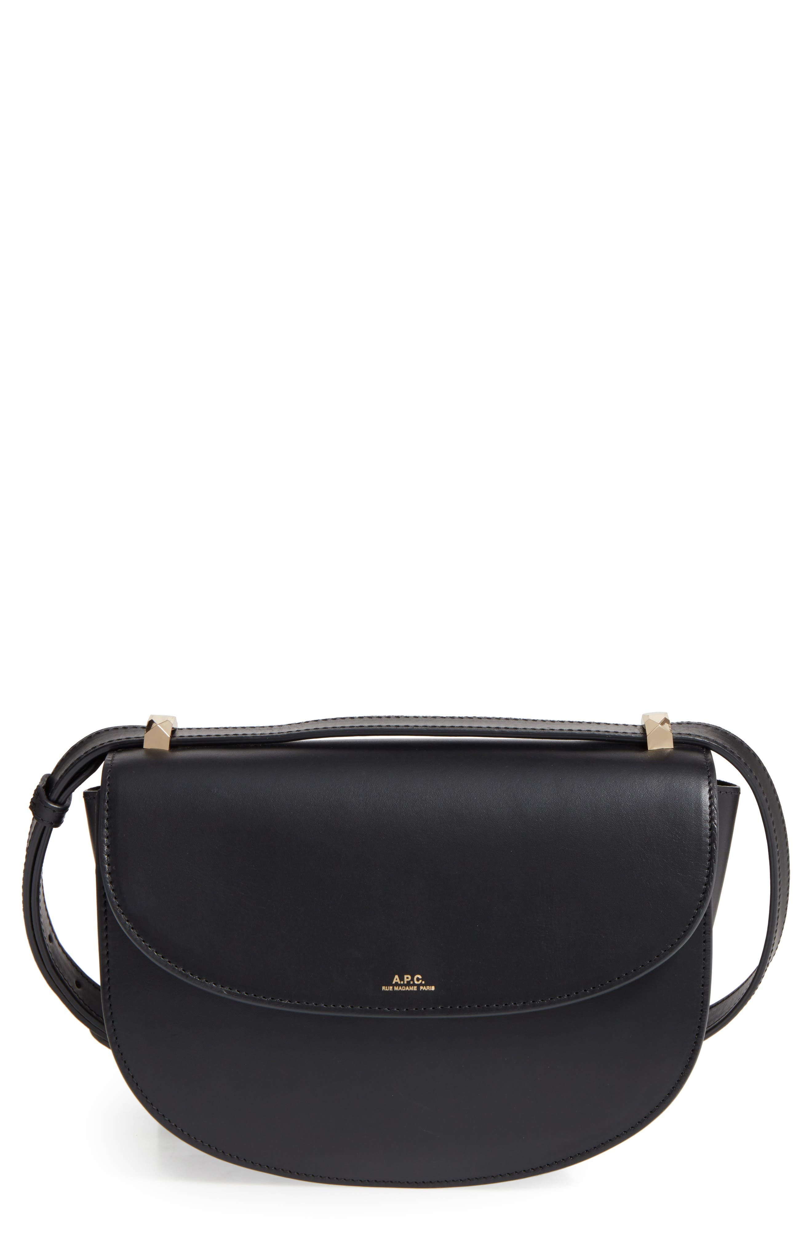 A.P.C.,                             Designer Geneve Leather Crossbody Bag,                             Main thumbnail 1, color,                             001