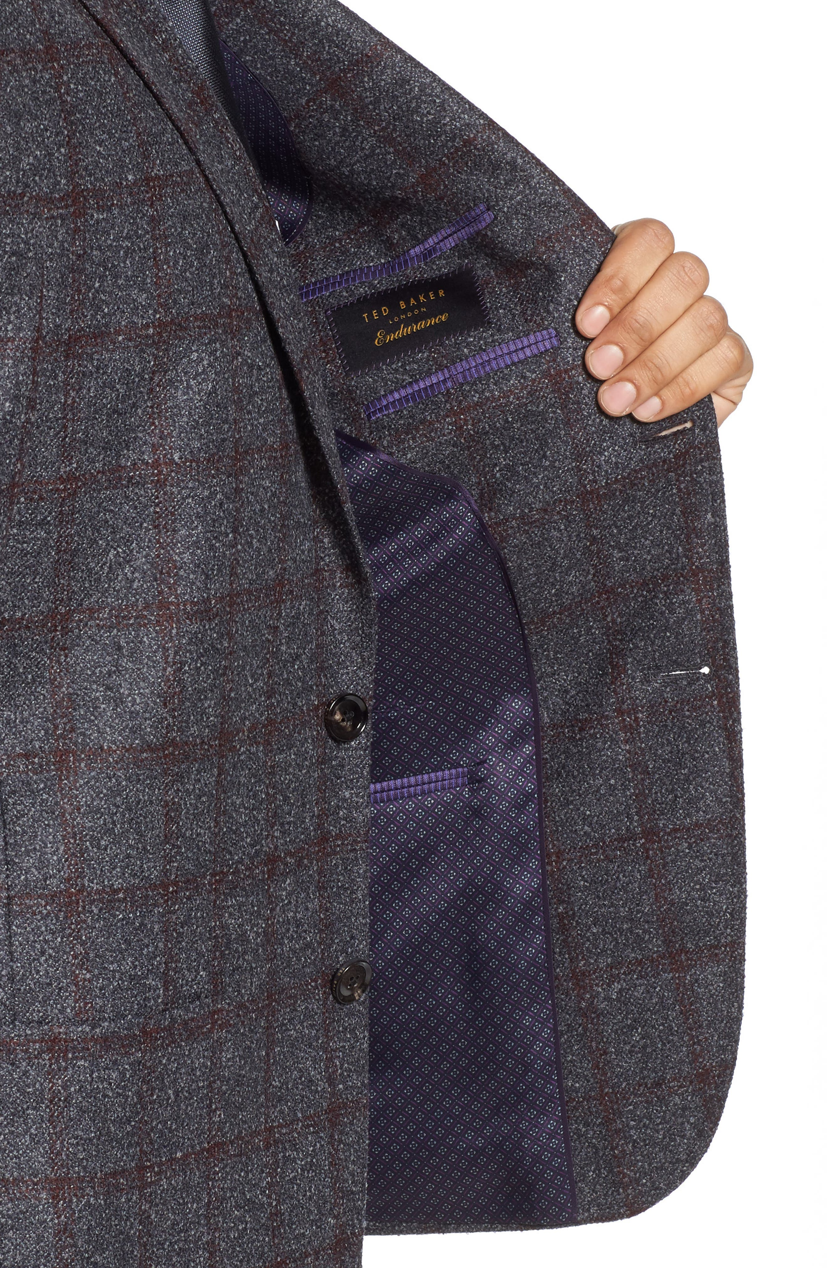 Kyle Trim Fit Windowpane Wool Blend Sport Coat,                             Alternate thumbnail 4, color,                             020