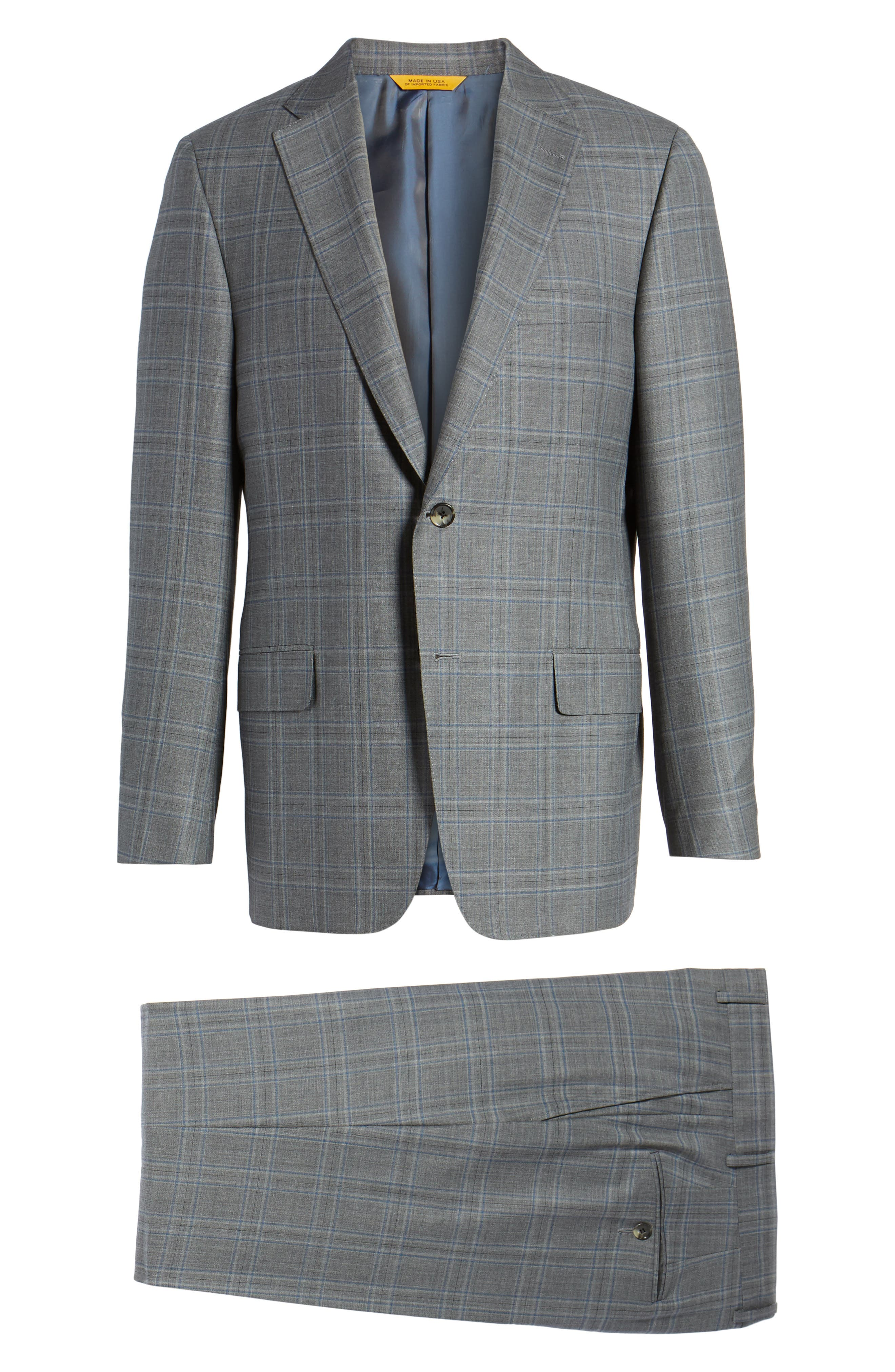 Classic B Fit Plaid Wool Suit,                             Alternate thumbnail 8, color,                             060