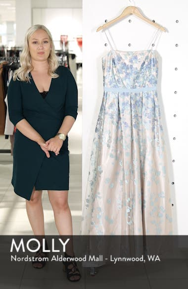Floral Embroidered Box Pleat Ballgown, sales video thumbnail