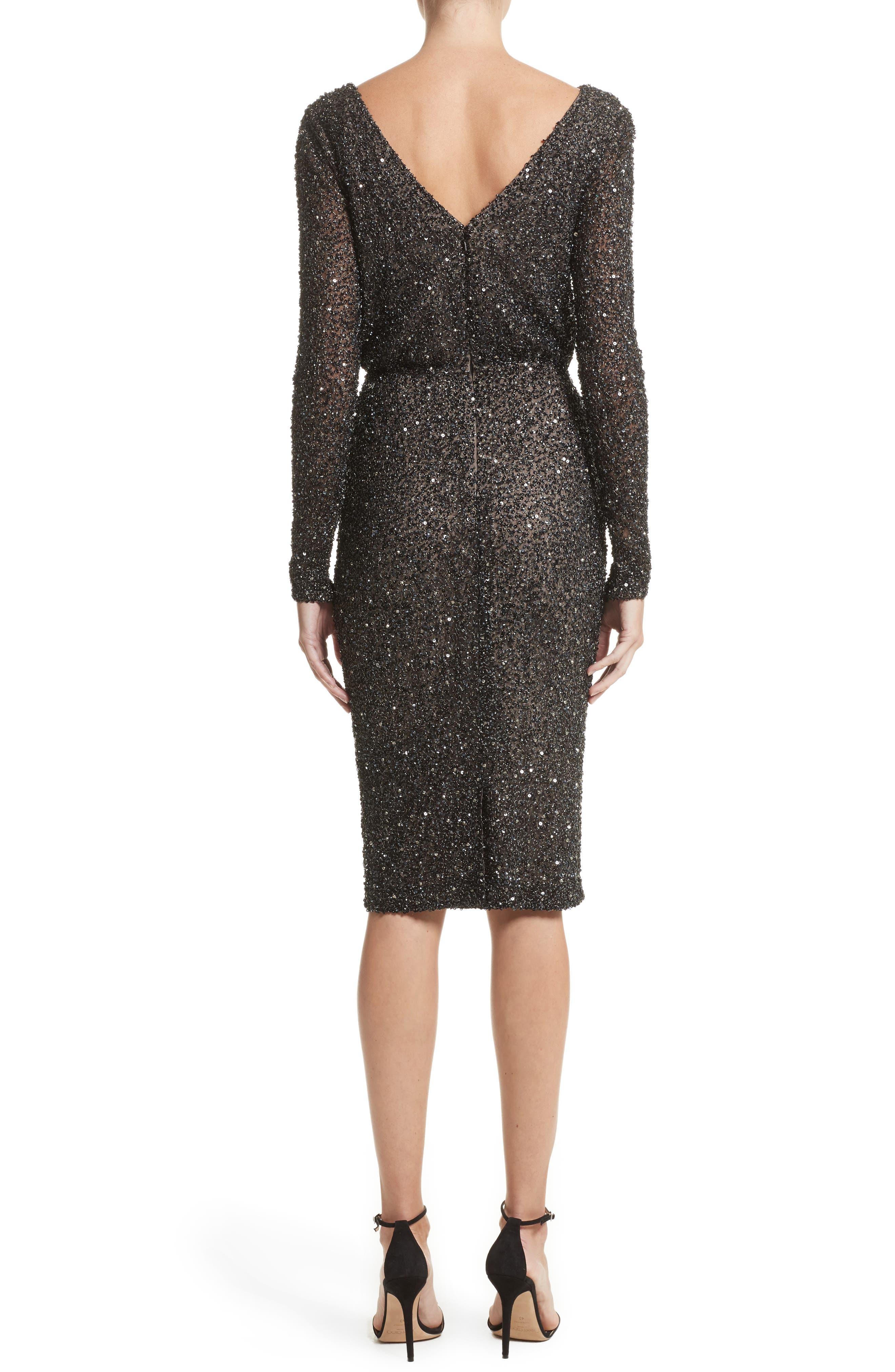 Viera Embellished V-Back Sheath Dress,                             Alternate thumbnail 2, color,                             001