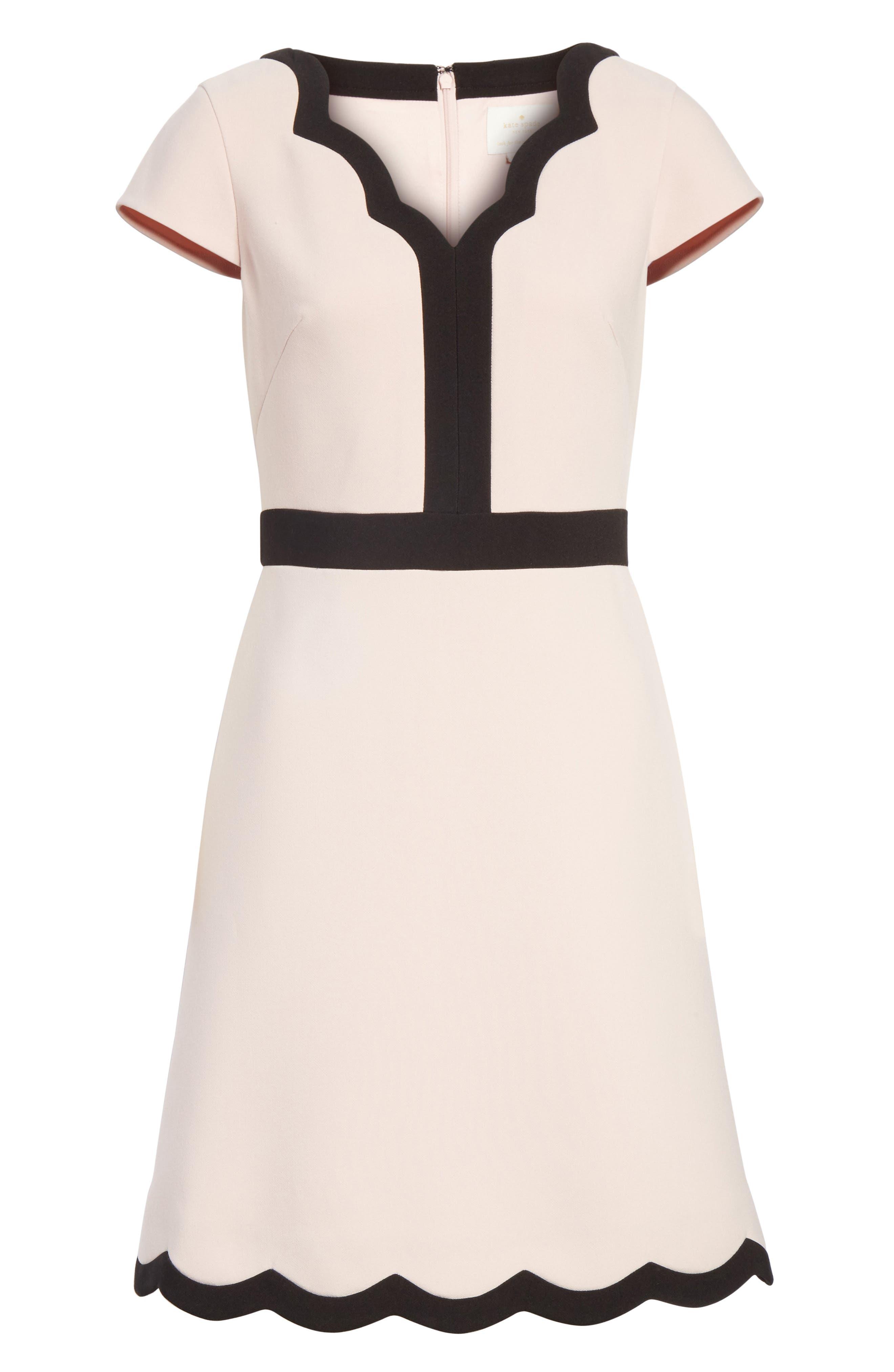 scallop cap sleeve dress,                             Alternate thumbnail 6, color,                             663