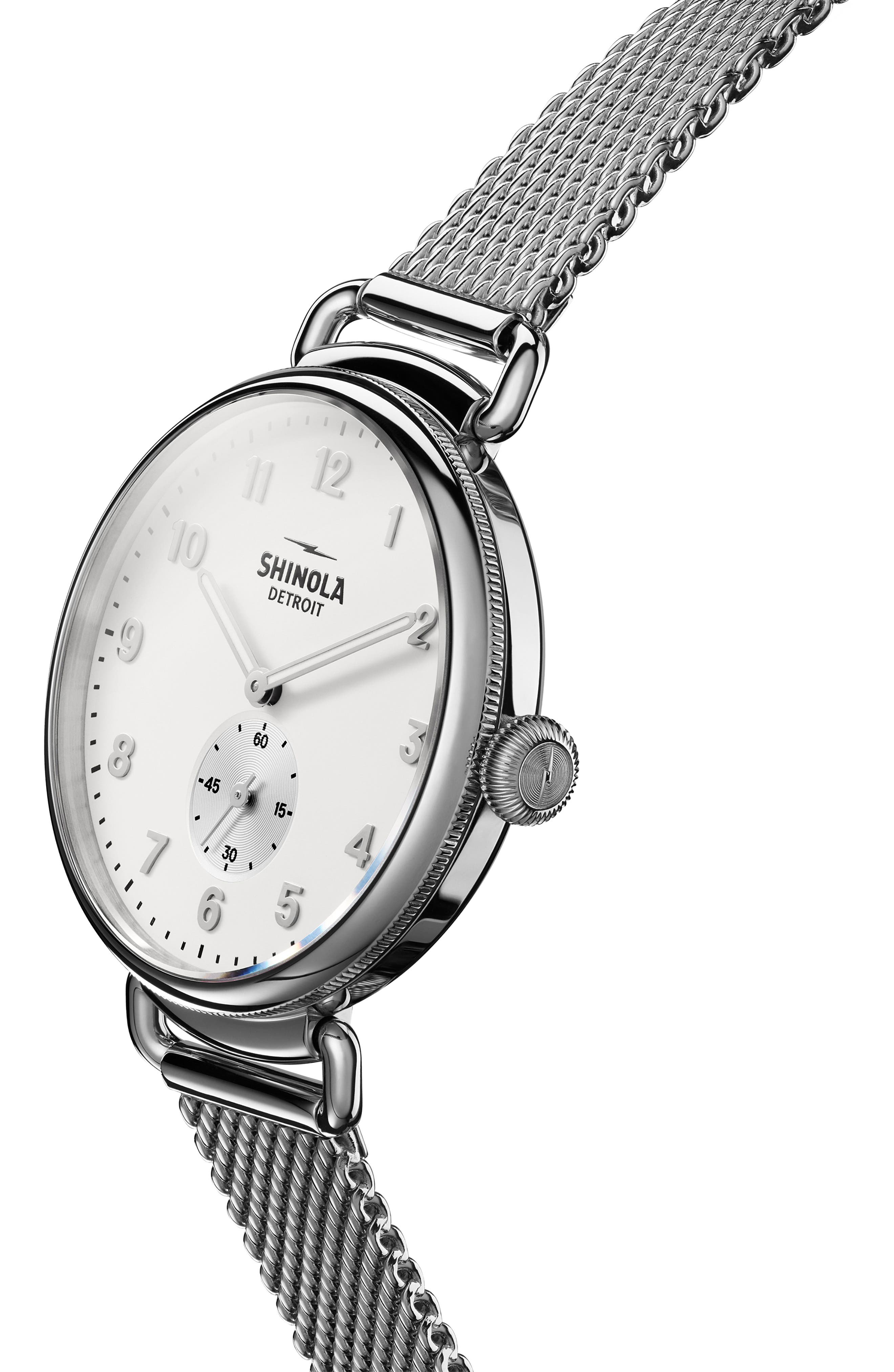 The Canfield Mesh Strap Watch, 38mm,                             Alternate thumbnail 5, color,                             SILVER/ ALABASTER/ SILVER