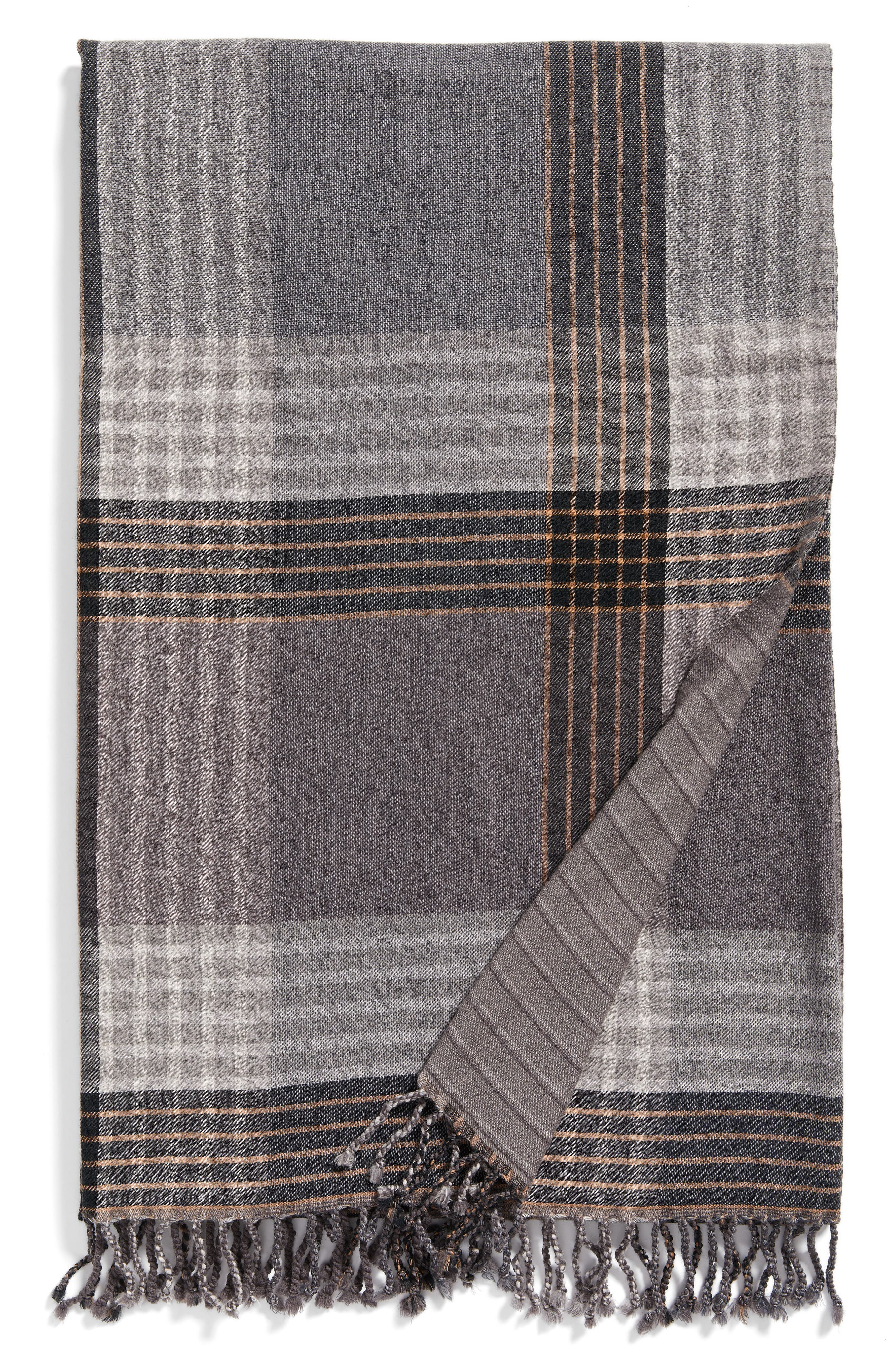 MODERN STAPLES Plaid Double Face Merino Wool Throw, Main, color, 060