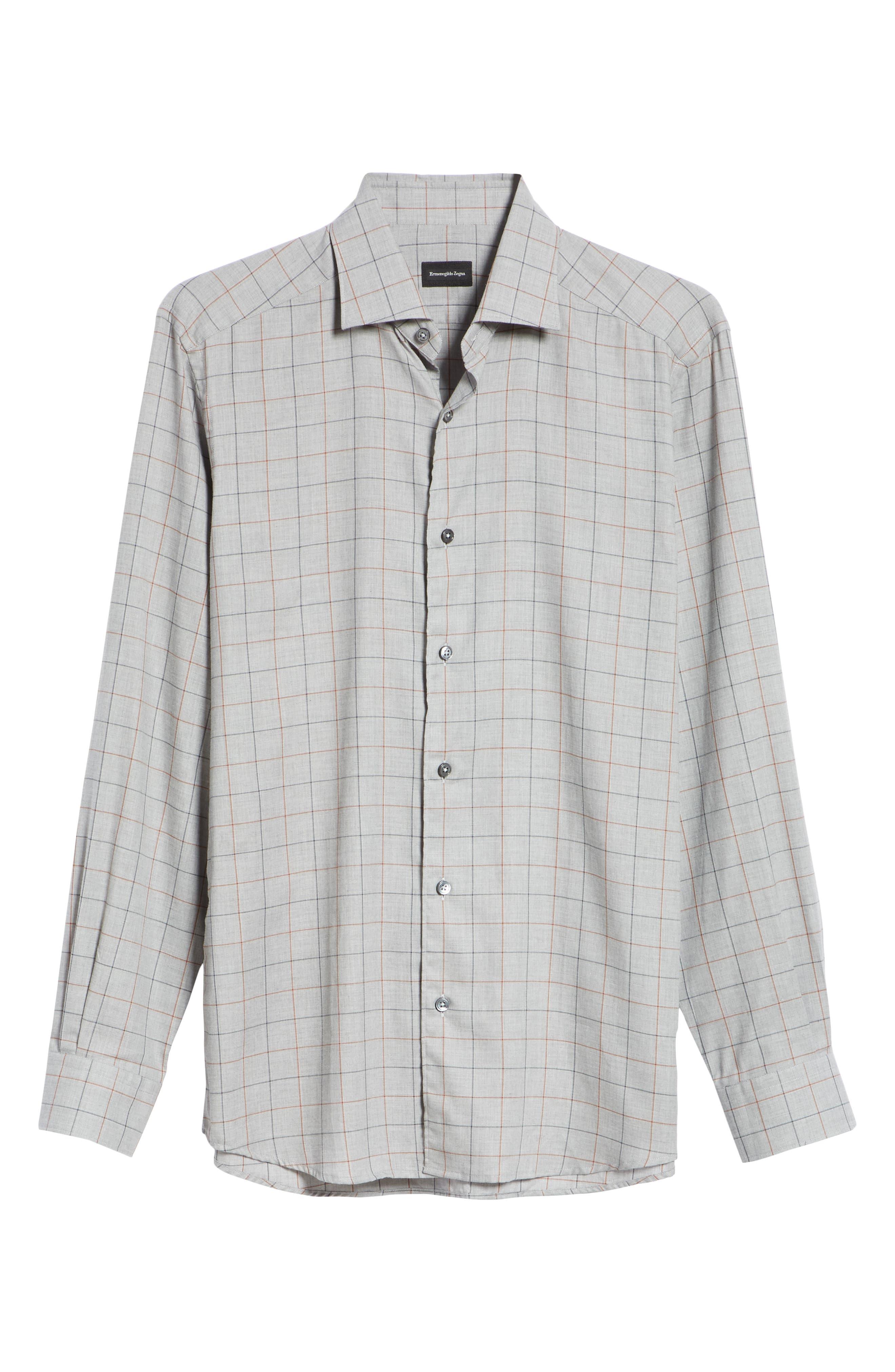 Classic Fit Windowpane Sport Shirt,                             Alternate thumbnail 6, color,                             BROWN