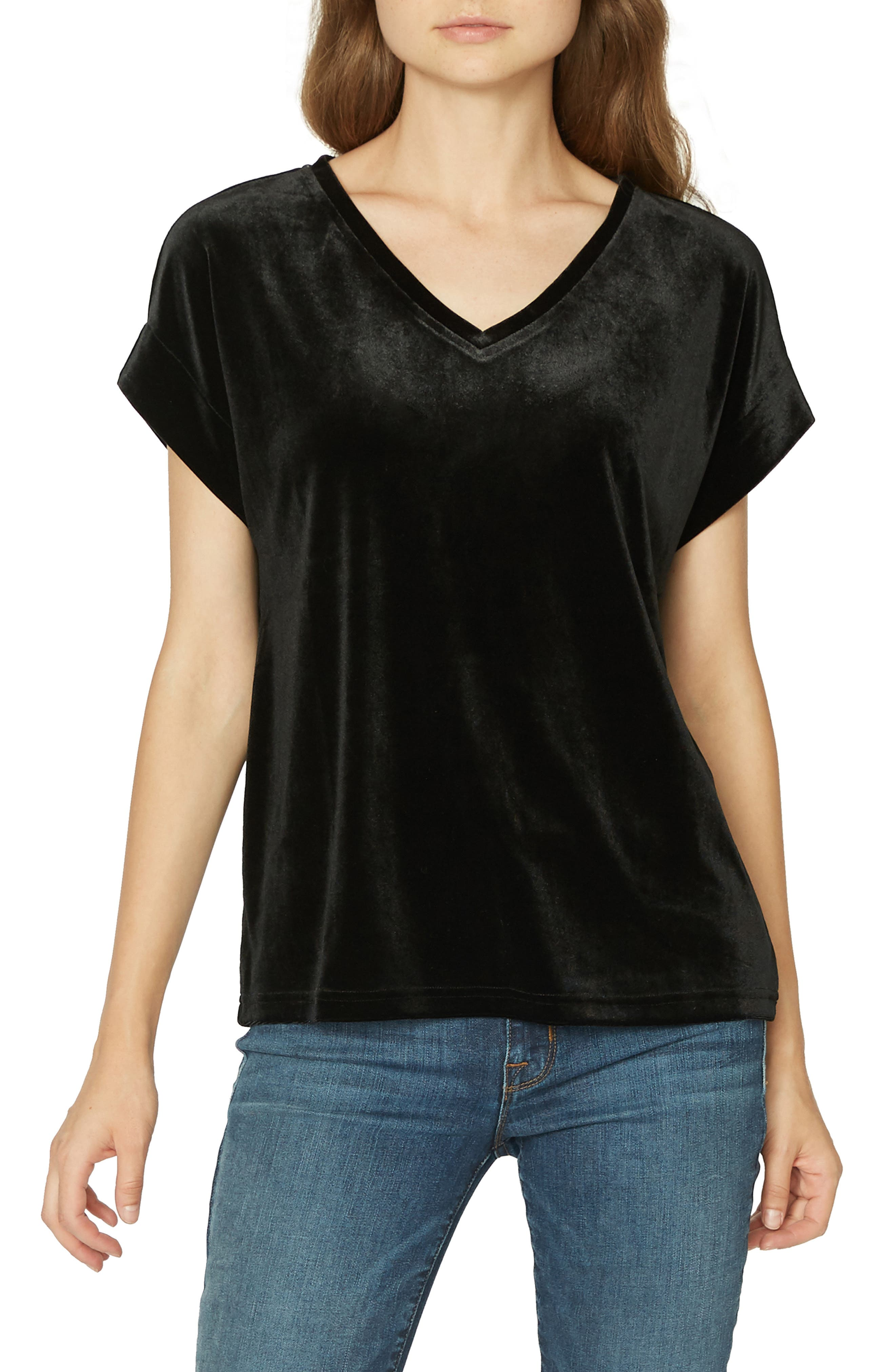 SANCTUARY,                             Holly Stretch Velvet Tee,                             Main thumbnail 1, color,                             001