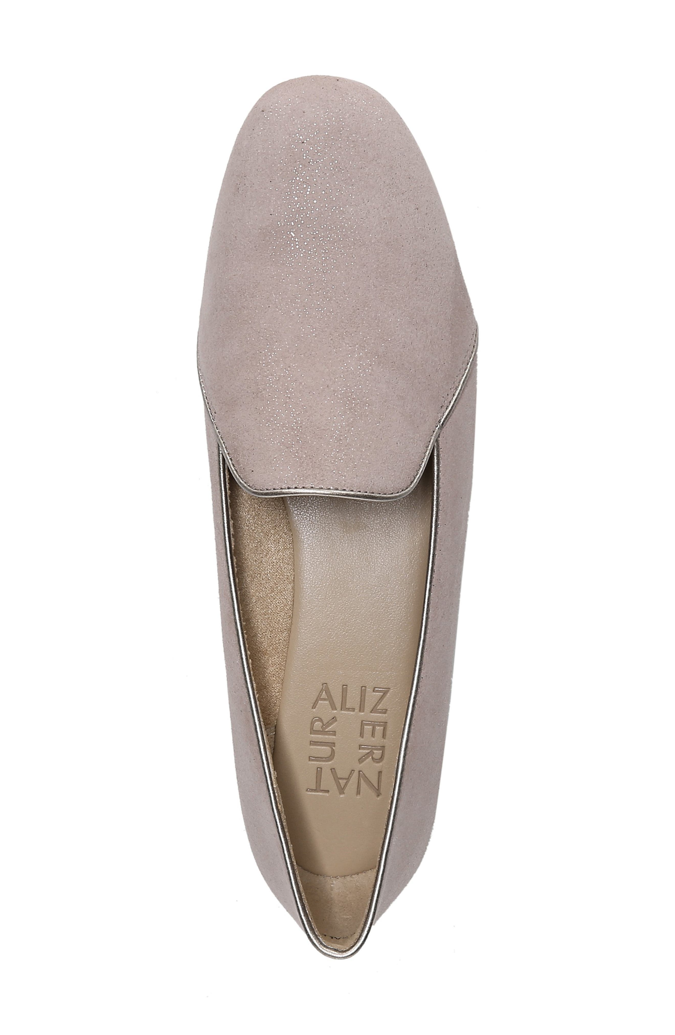 Emiline 2 Loafer,                             Alternate thumbnail 5, color,                             TAUPE GLITTER DUST SUEDE