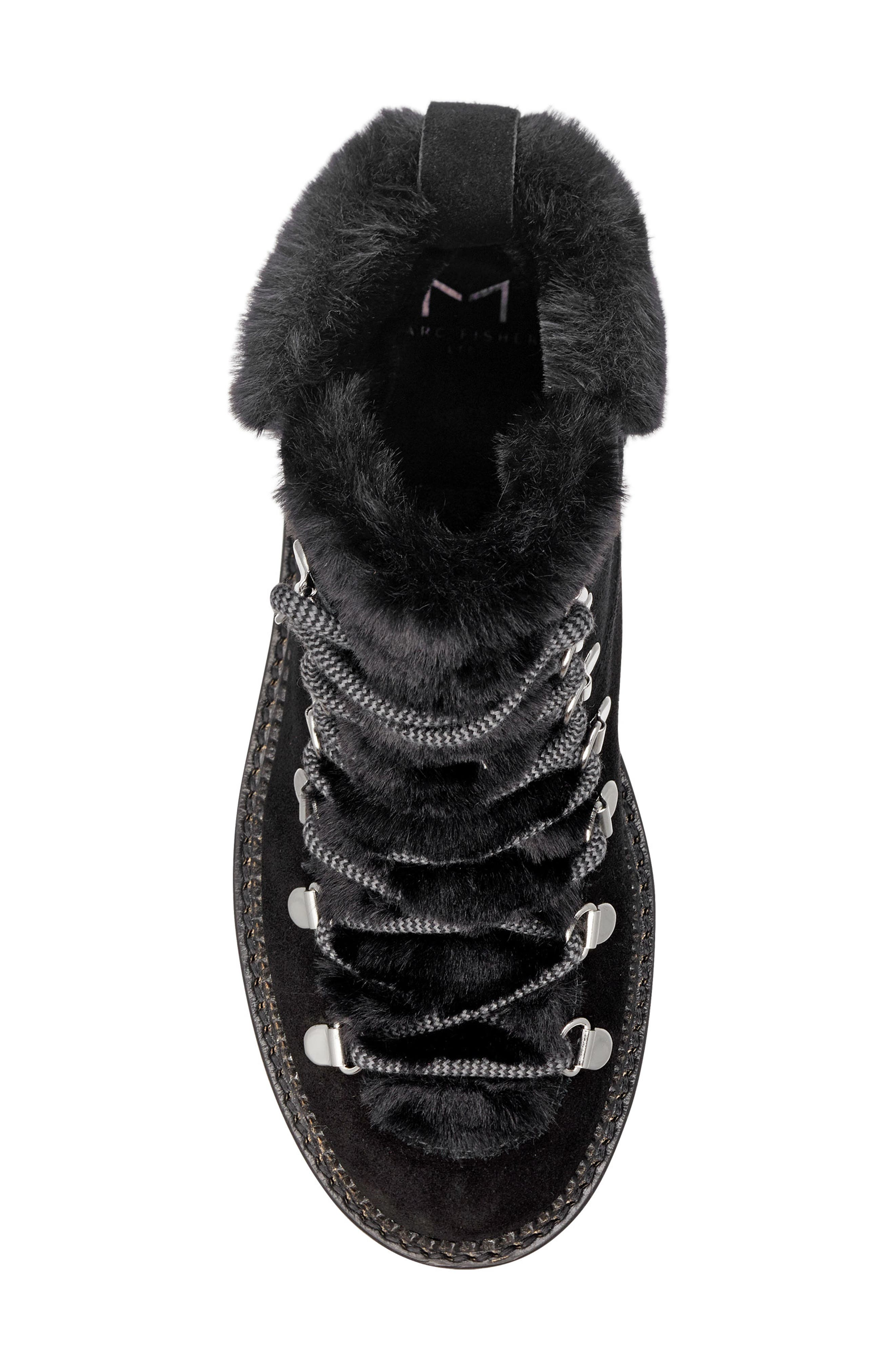 Capell Faux Shearling Cuff Lace-Up Boot,                             Alternate thumbnail 5, color,                             BLACK SUEDE