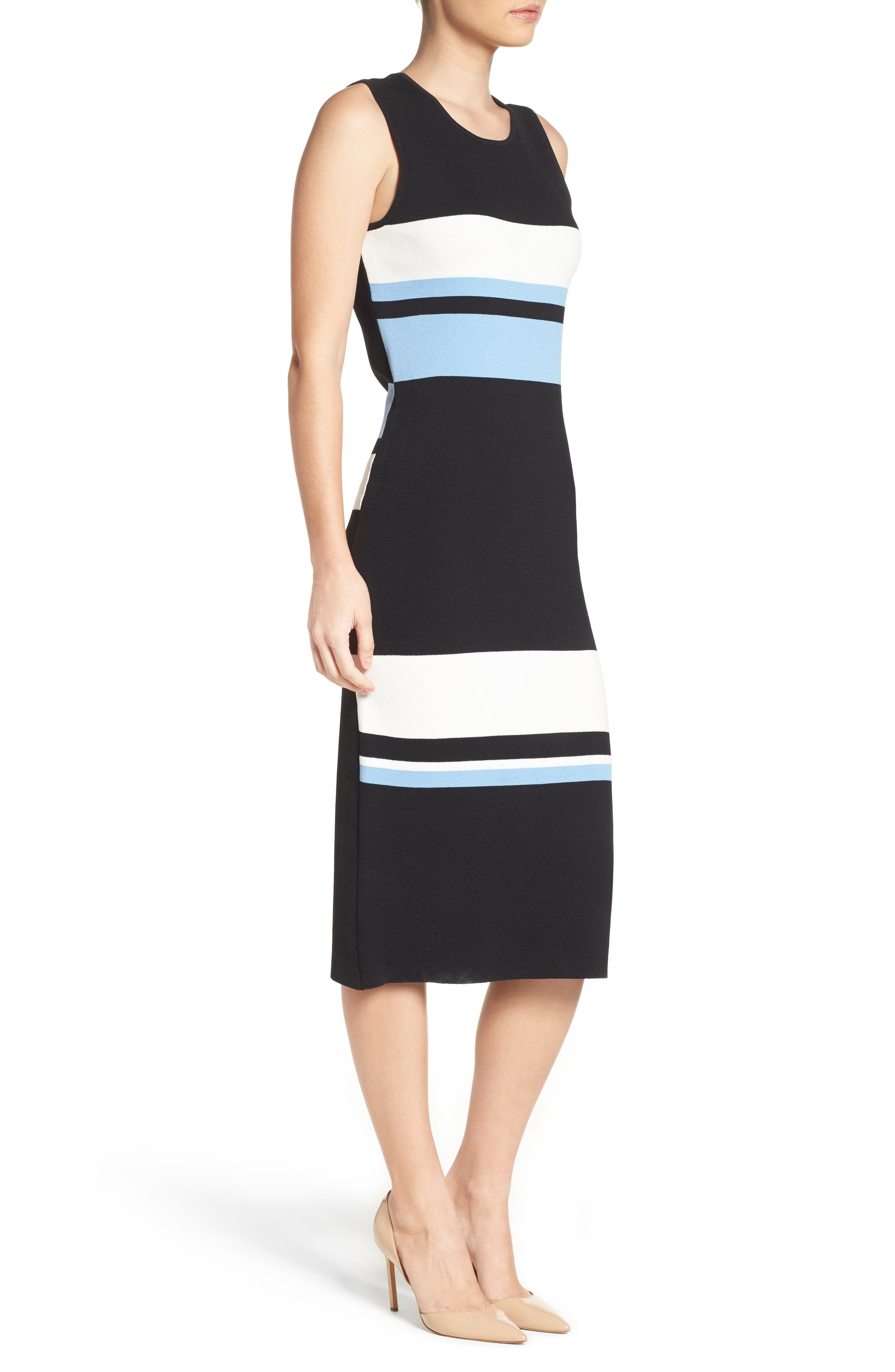 Color Block Midi Dress,                             Alternate thumbnail 3, color,                             421