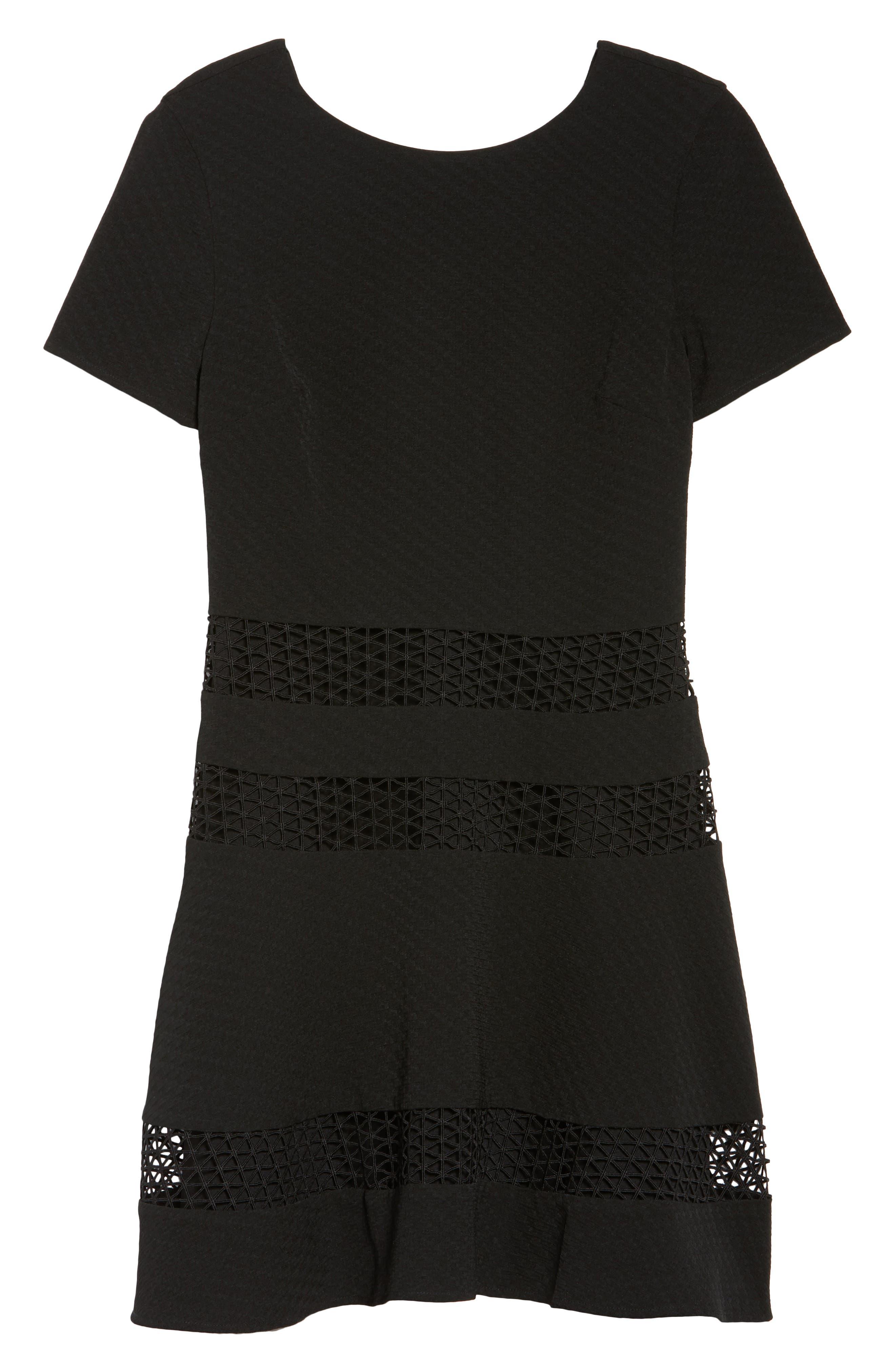 Mixed Media Fit & Flare Dress,                             Alternate thumbnail 7, color,                             BLACK