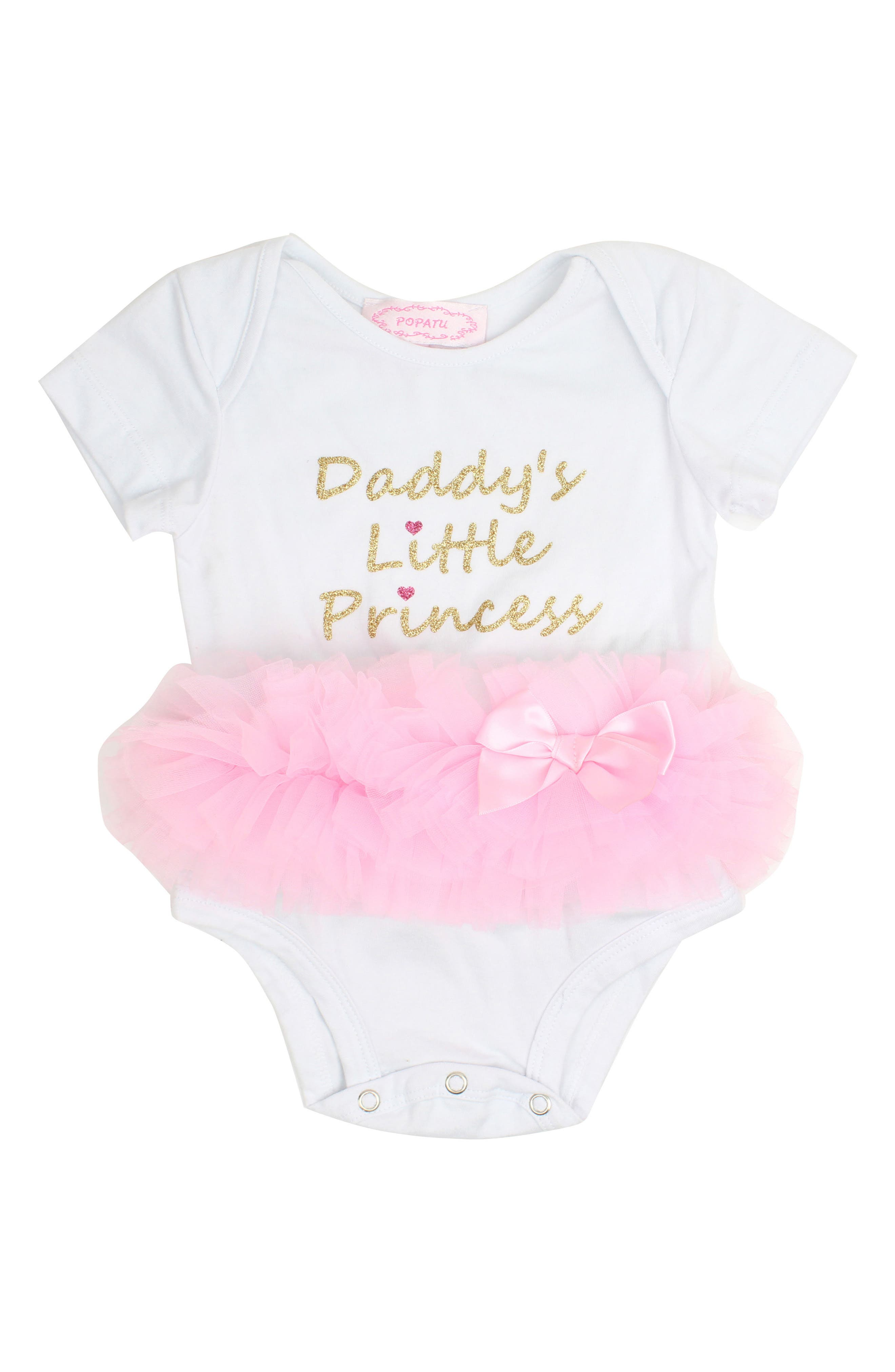 Daddy's Little Princess Tutu Bodysuit,                         Main,                         color, WHITE