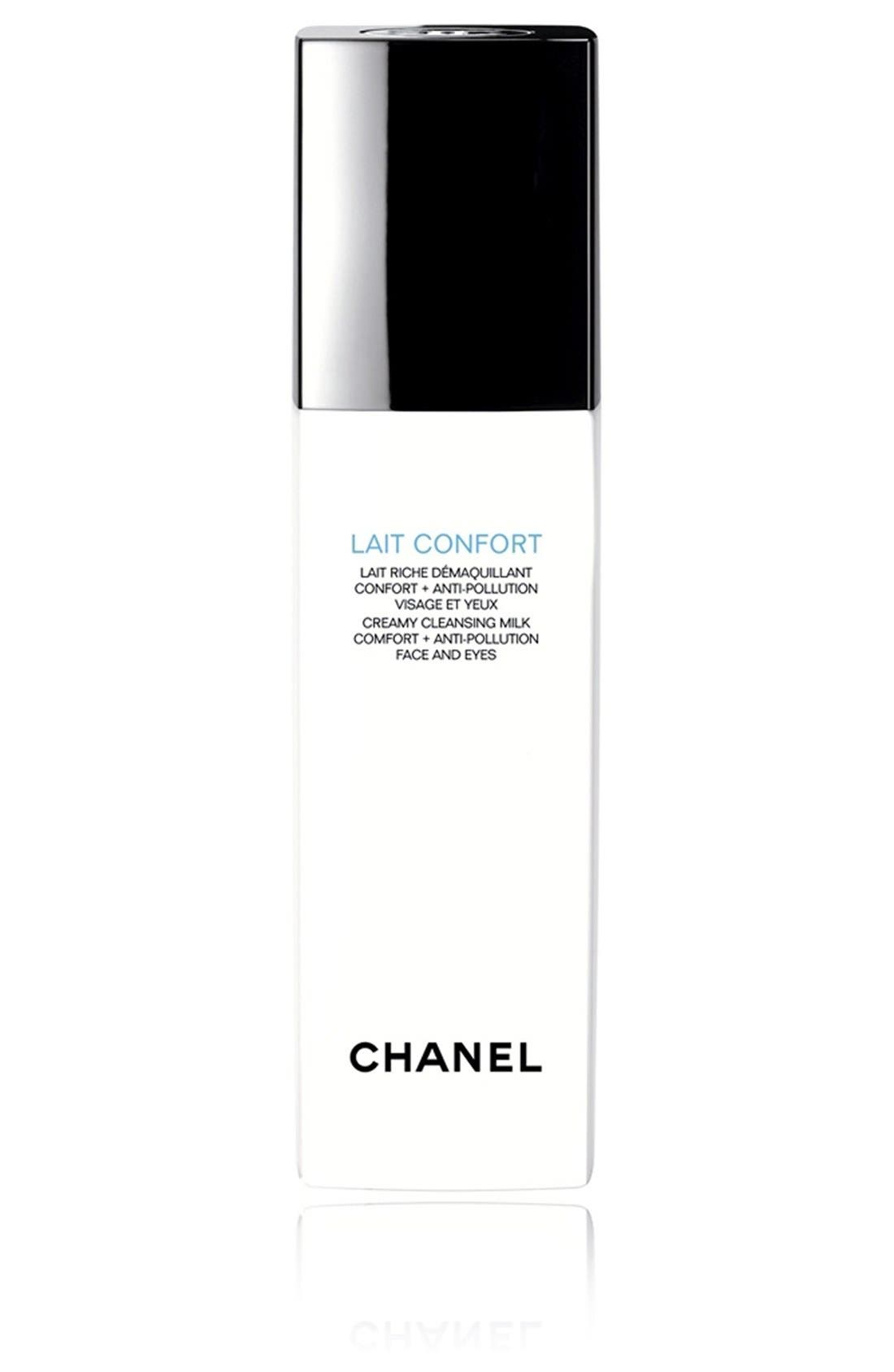 CHANEL,                             LAIT CONFORT<br />Creamy Cleansing Milk Comfort + Anti-Pollution Face & Eyes,                             Main thumbnail 1, color,                             000