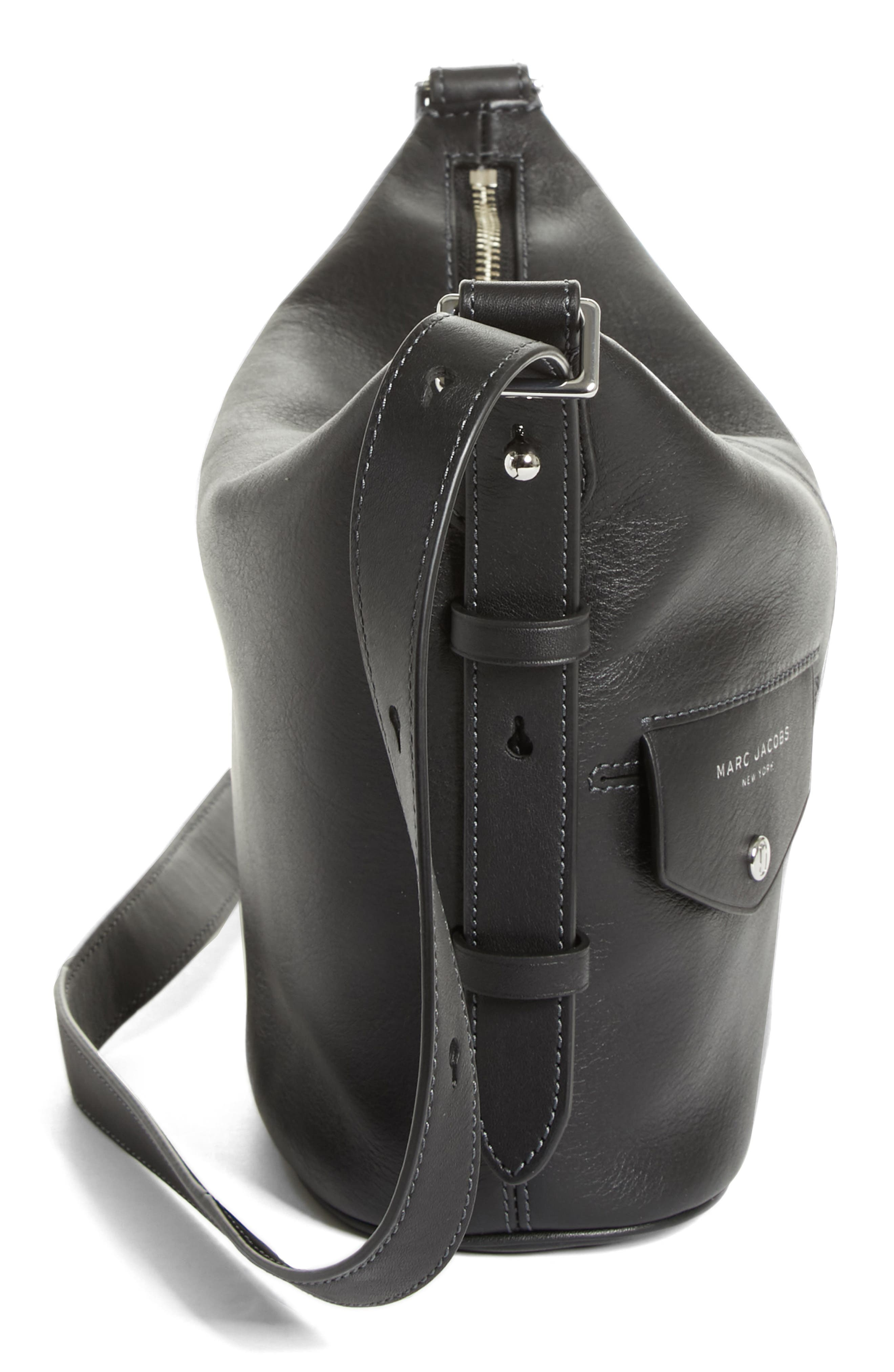 The Mini Sling Convertible Leather Hobo,                             Alternate thumbnail 5, color,                             001