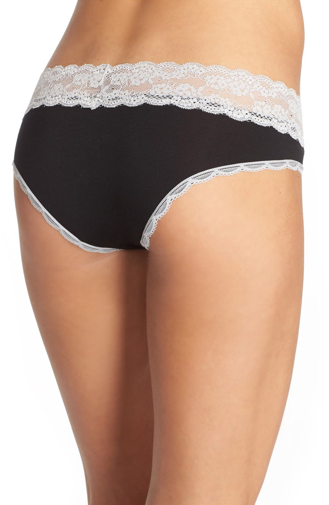 Lace Waistband Hipster Panties,                             Alternate thumbnail 3, color,                             BLACK/ SILVER