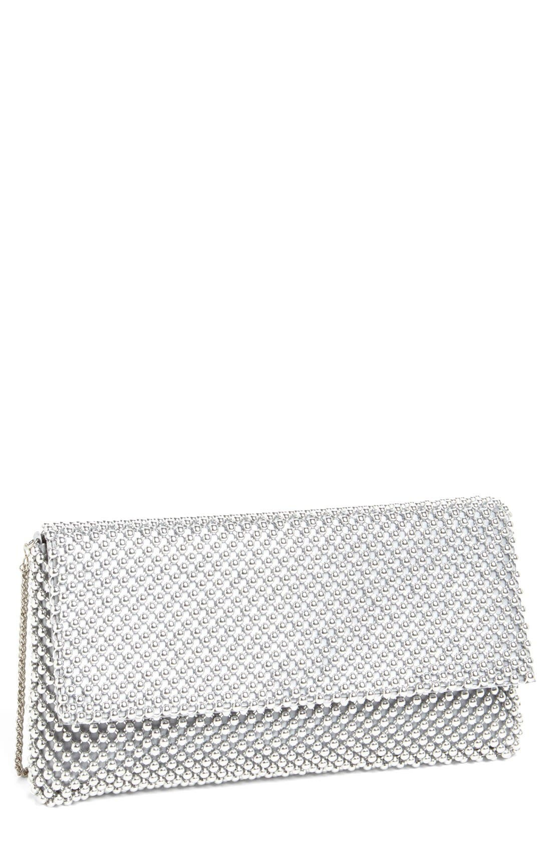 Beaded Mesh Clutch,                         Main,                         color, SILVER