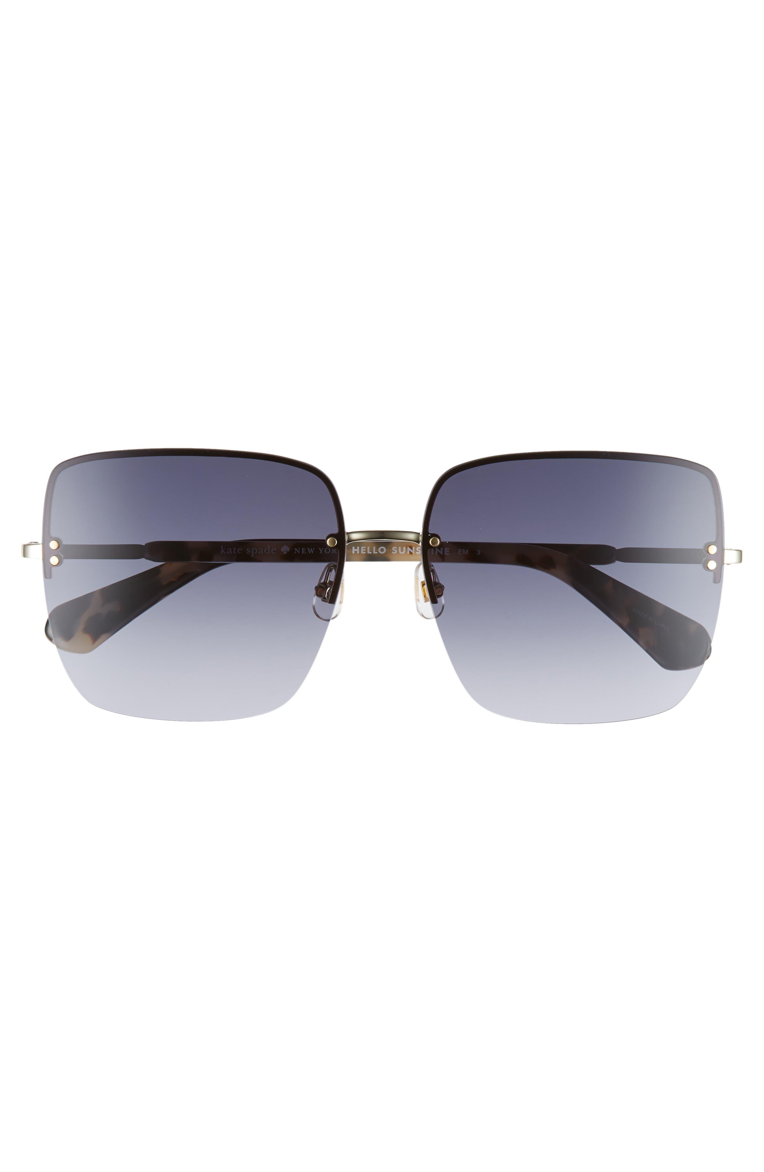 janays 61mm rimless square sunglasses,                             Alternate thumbnail 3, color,                             WHITE HAVANA