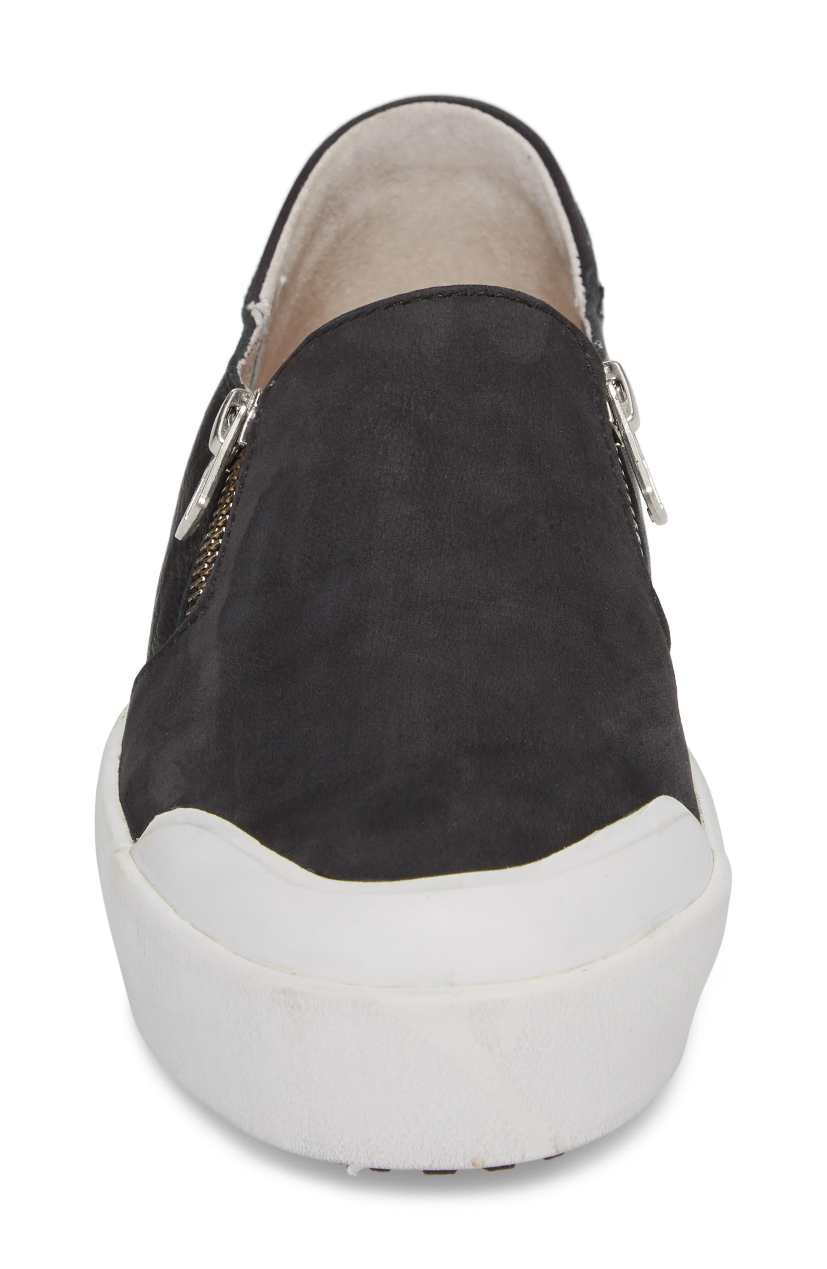 PL82 Slip-On Sneaker,                             Alternate thumbnail 4, color,                             BLACK LEATHER
