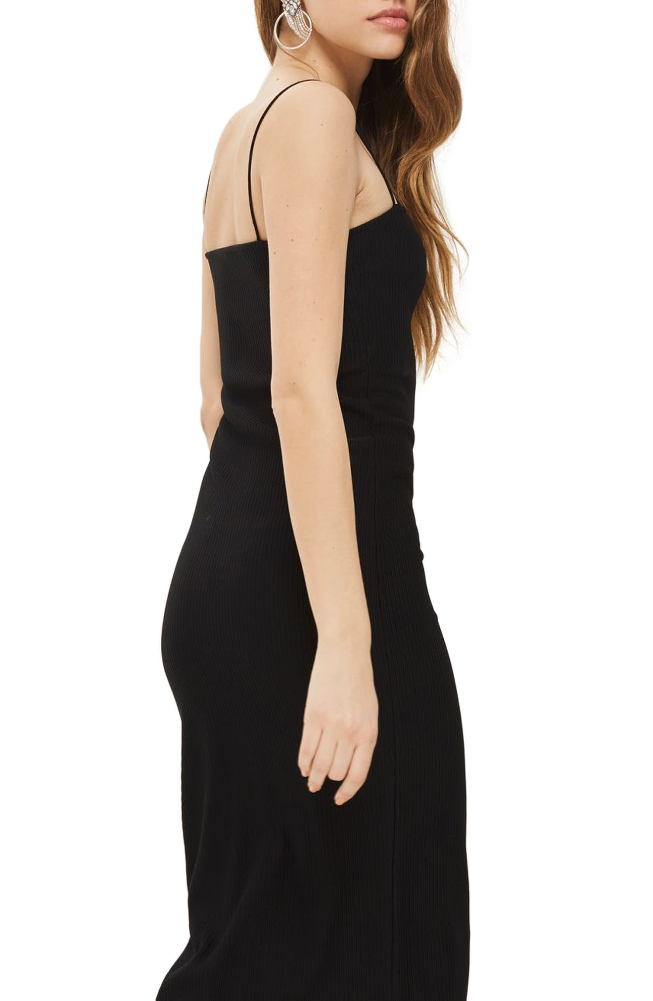 Square Neck Body-Con Midi Dress,                             Alternate thumbnail 2, color,                             001
