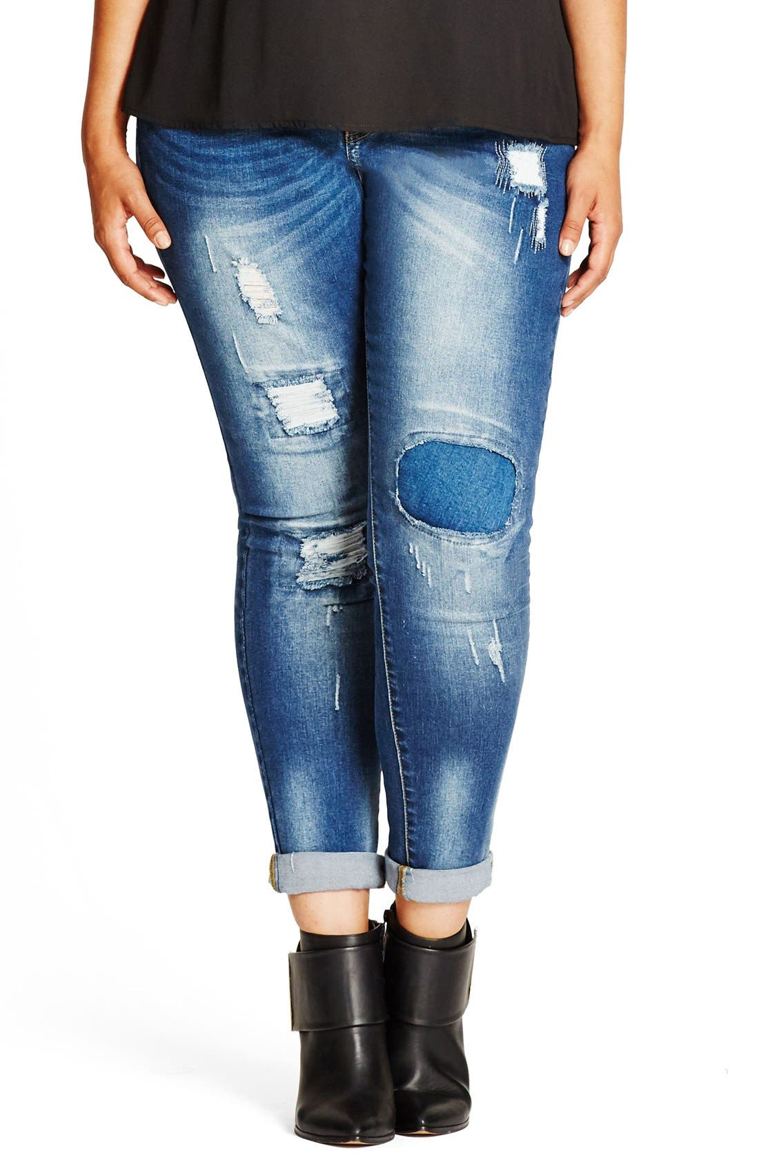 Patched Up Distressed Skinny Jeans,                             Main thumbnail 1, color,                             DENIM
