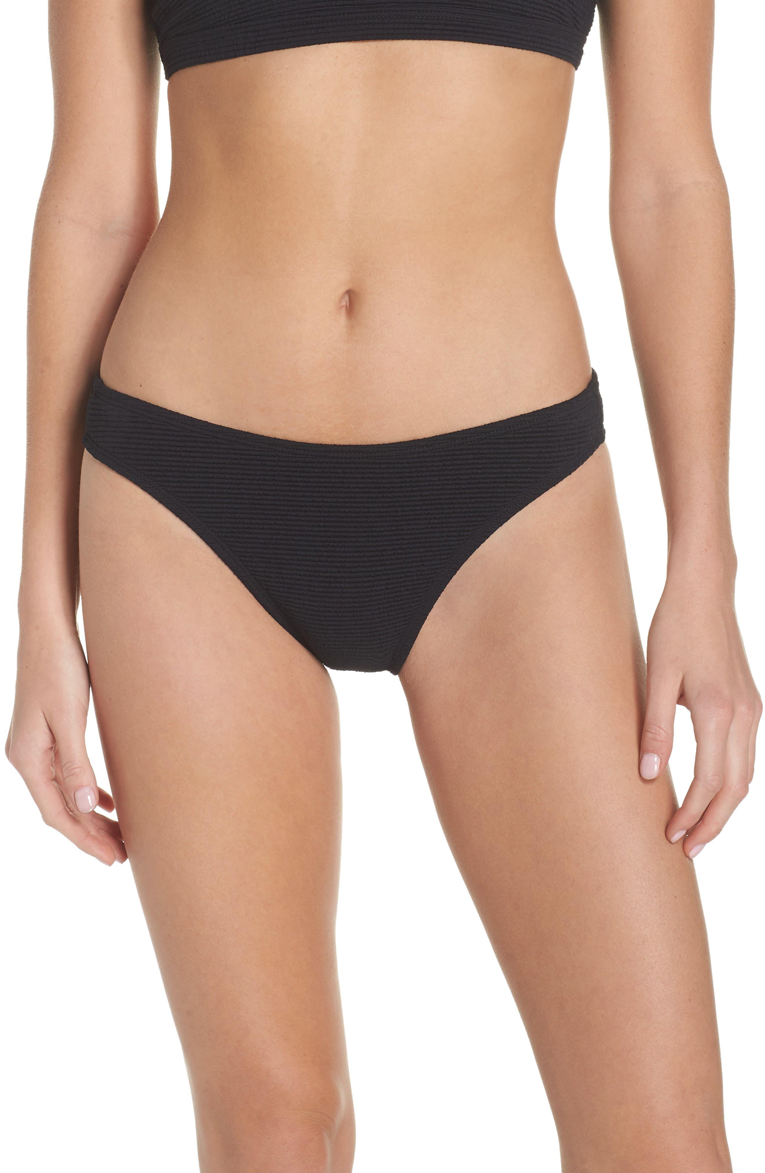 Malibu High Leg Bikini Bottoms,                         Main,                         color, BLACK