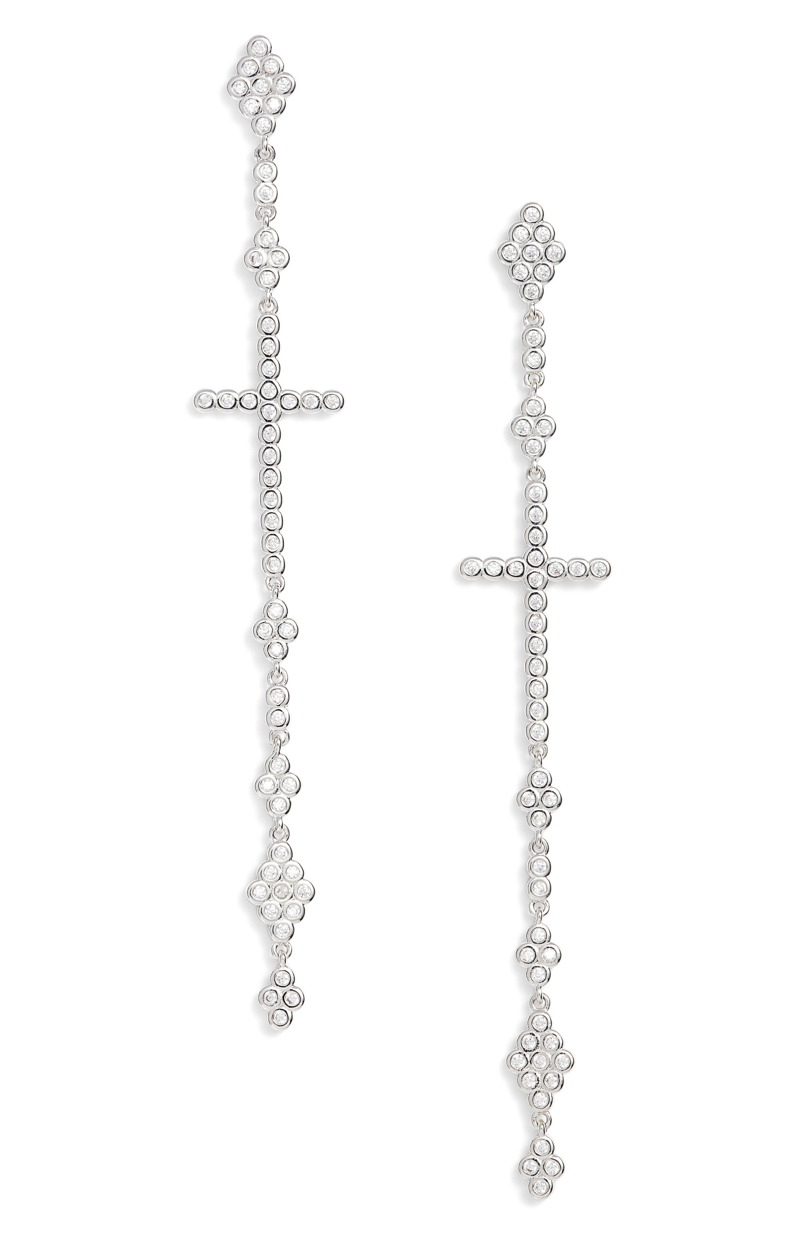 Linear Cross Earrings,                             Main thumbnail 1, color,                             041