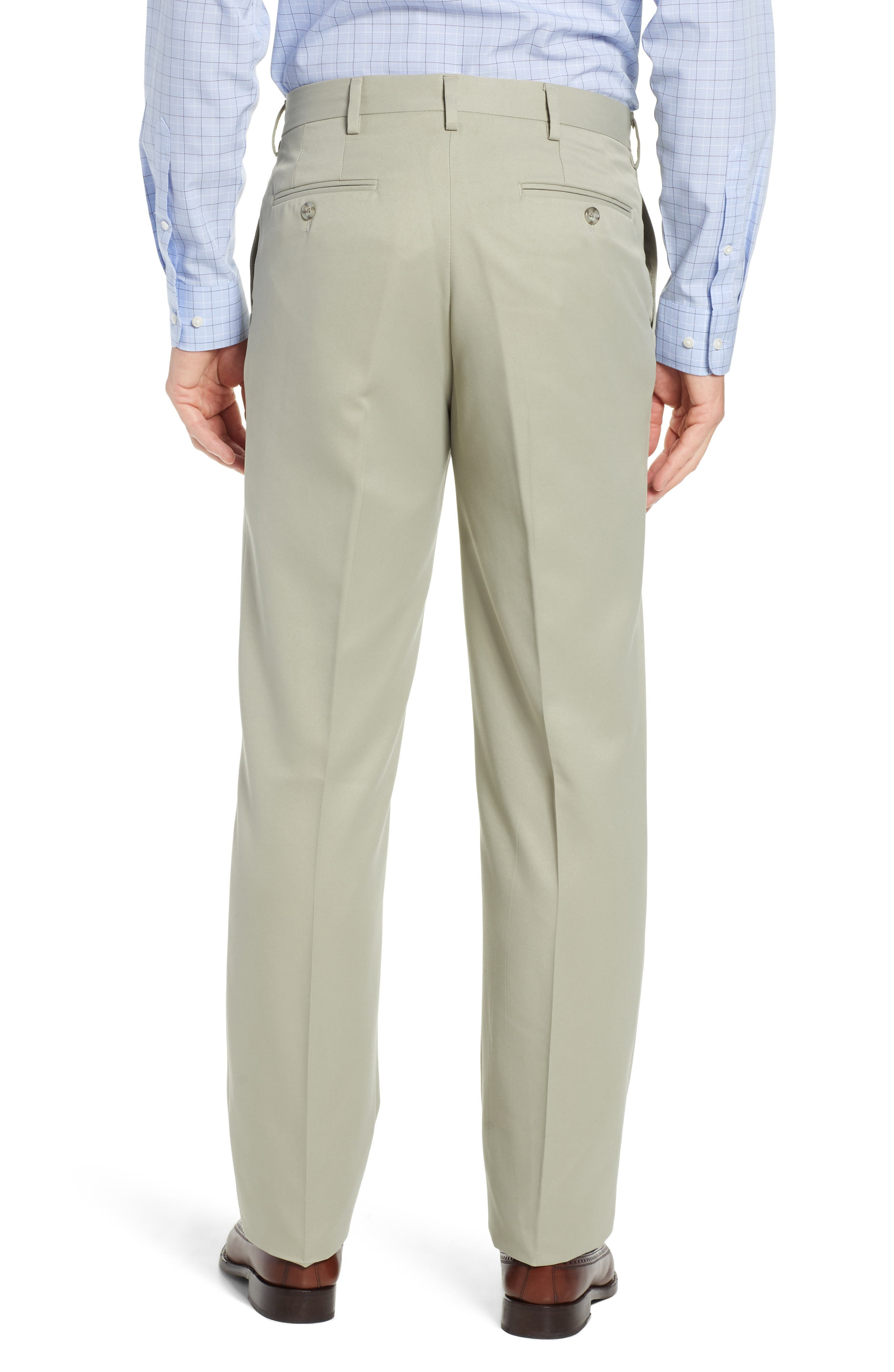 Classic Fit Flat Front Microfiber Performance Trousers,                             Alternate thumbnail 2, color,                             TAUPE