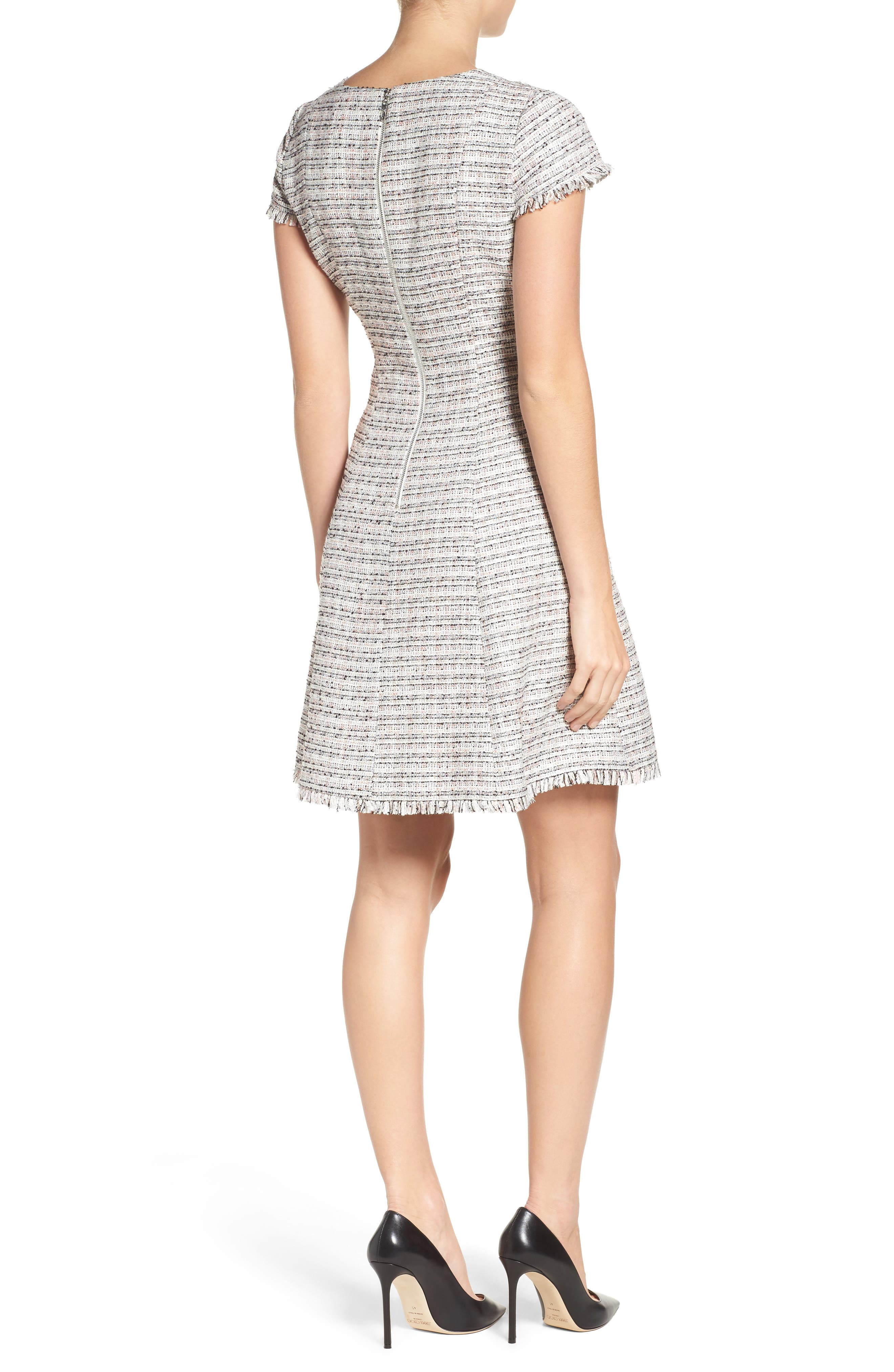 Tweed Fit & Flare Dress,                             Alternate thumbnail 2, color,                             070
