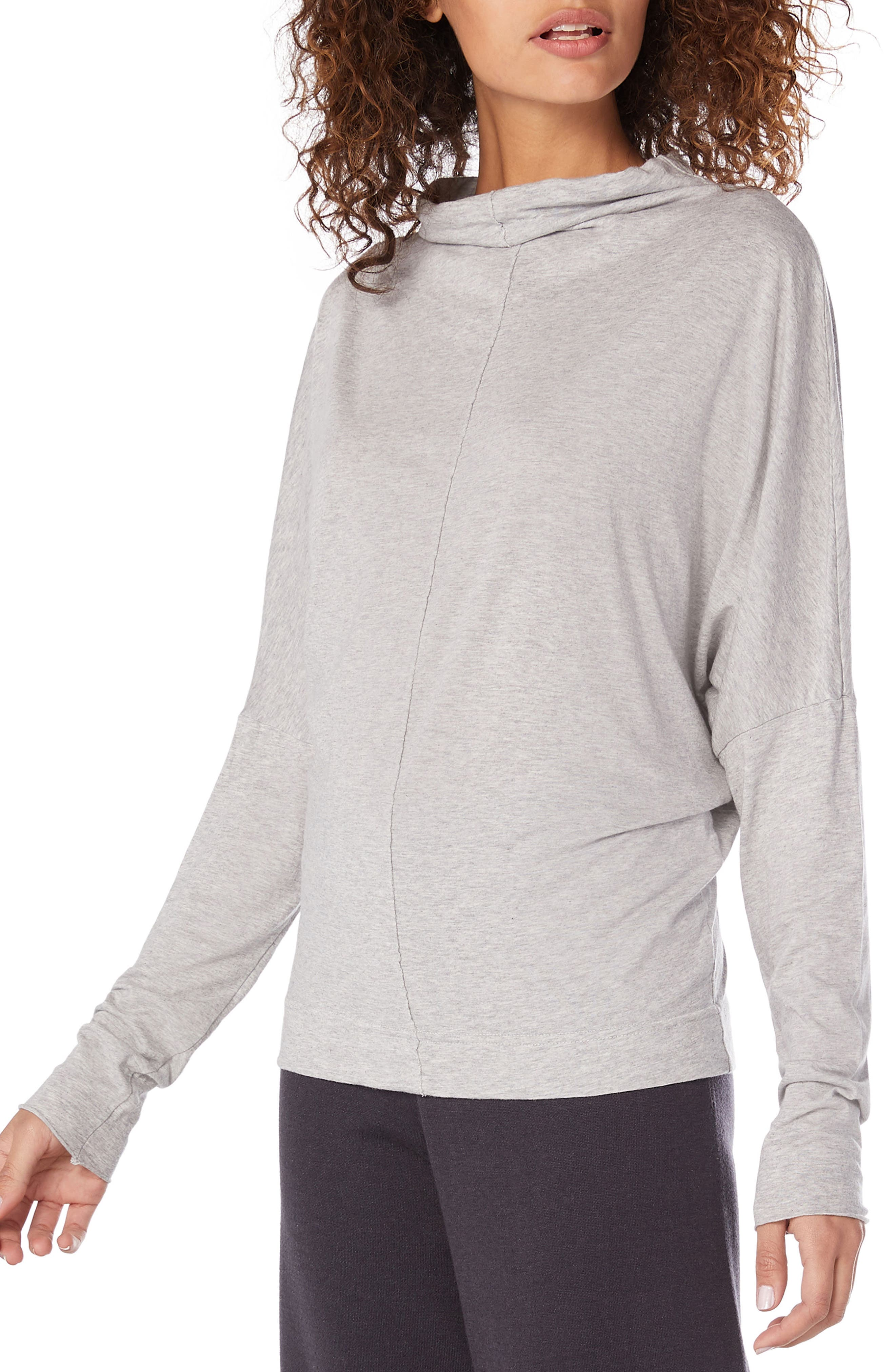 Ultra Jersey Open Neck Top,                             Alternate thumbnail 3, color,                             HEATHER GREY