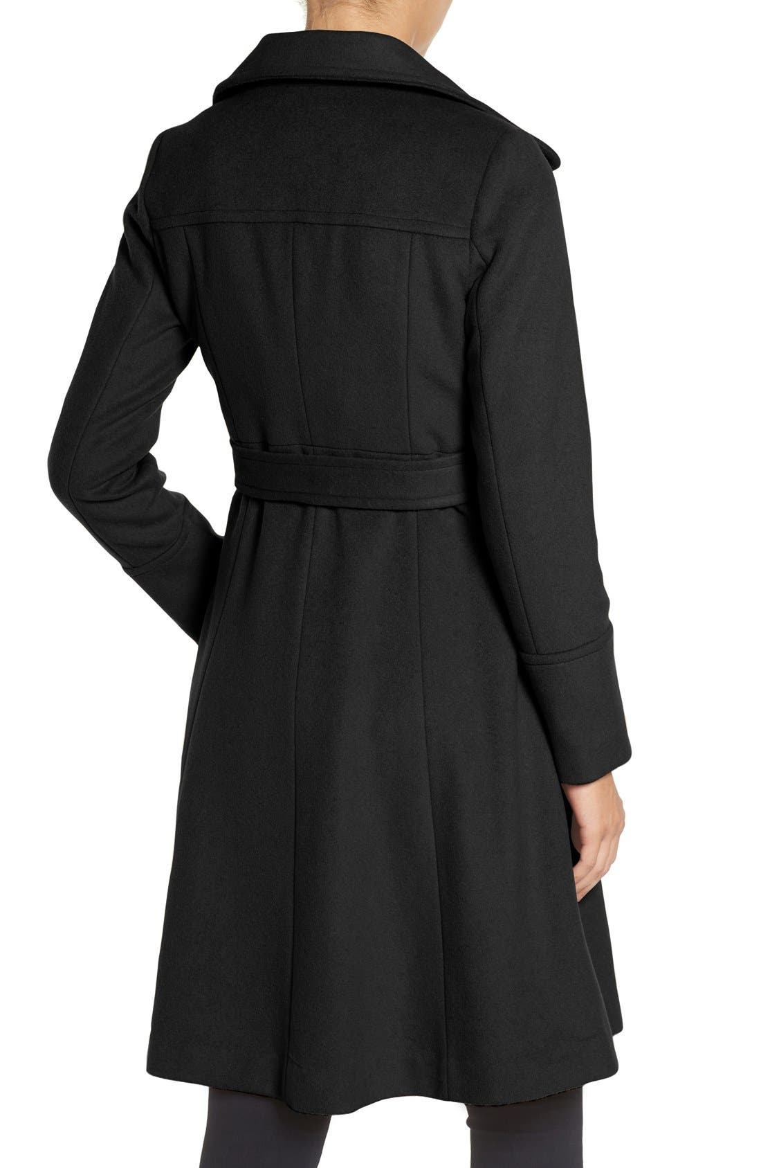 Luxe Wool Blend Belted Long A-Line Coat,                             Alternate thumbnail 5, color,