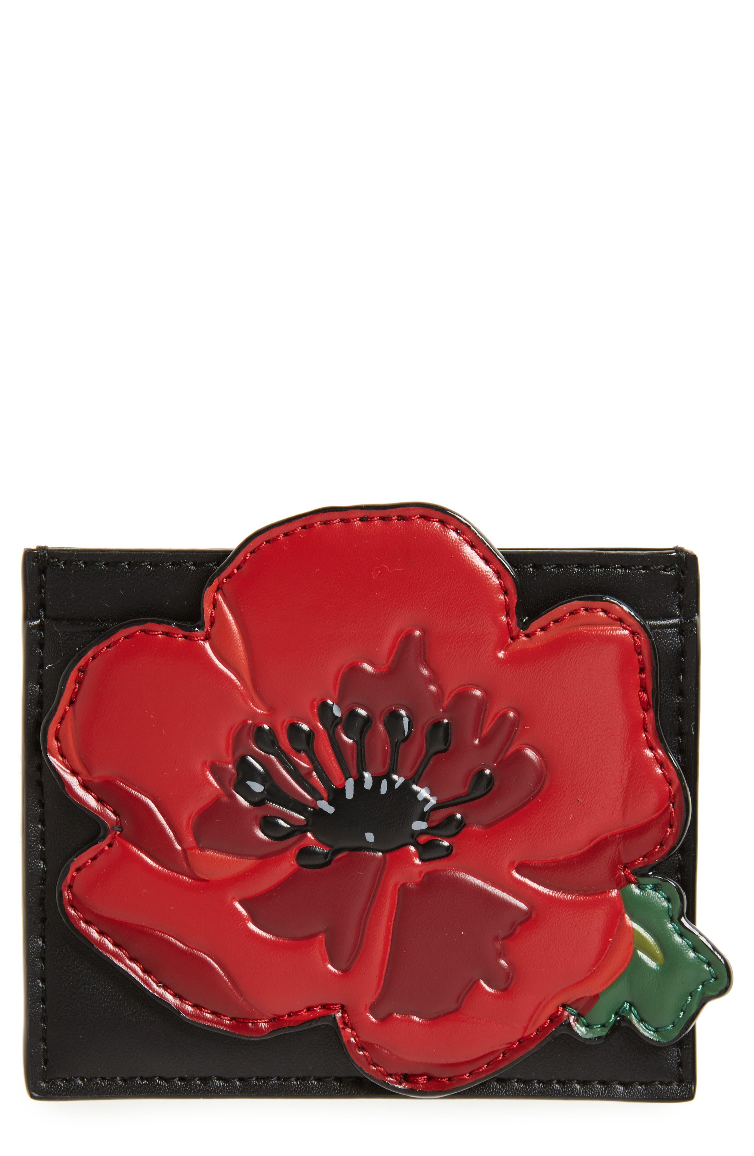 ooh la la poppy leather card holder kate,                         Main,                         color, 001