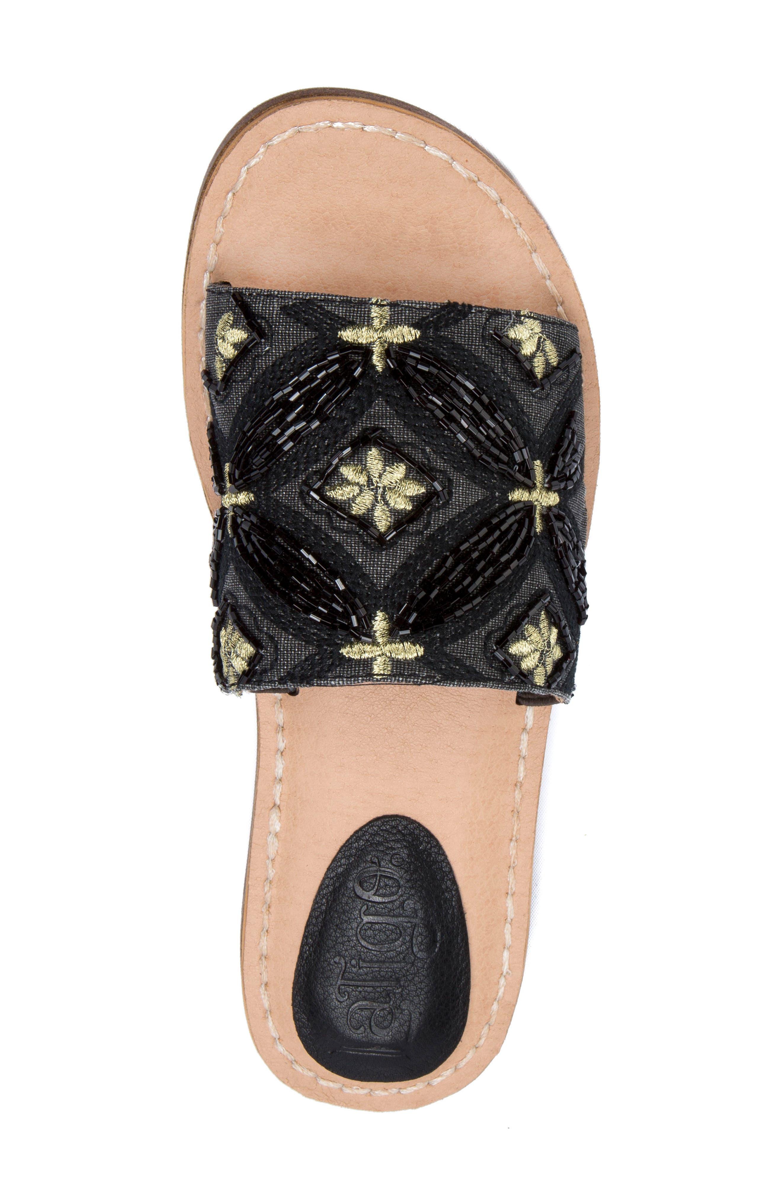 Vella Embellished Slide Sandal,                             Alternate thumbnail 5, color,                             001