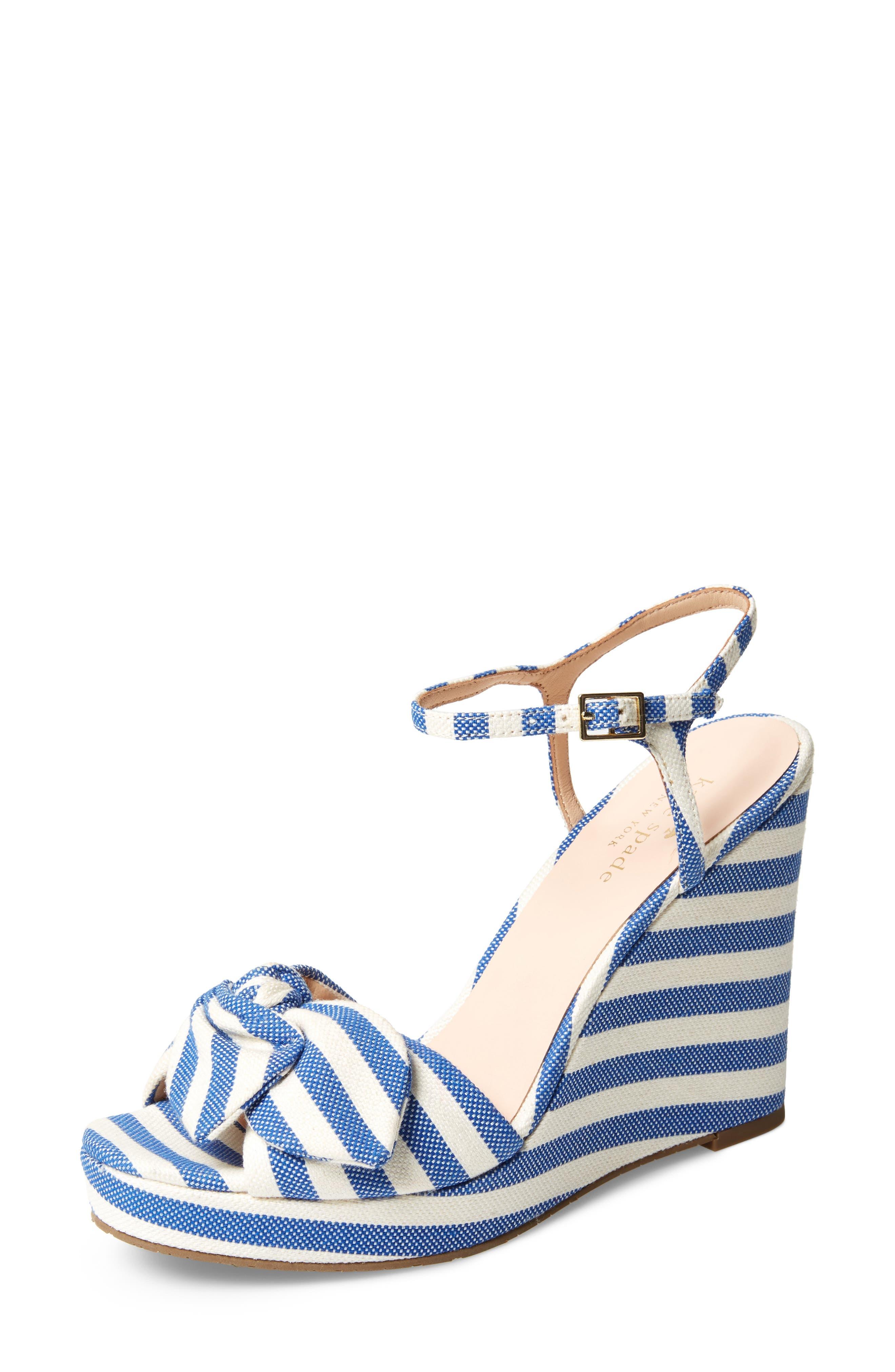 janae knot platform wedge sandal,                         Main,                         color, BLUE/CREAM STRIPE