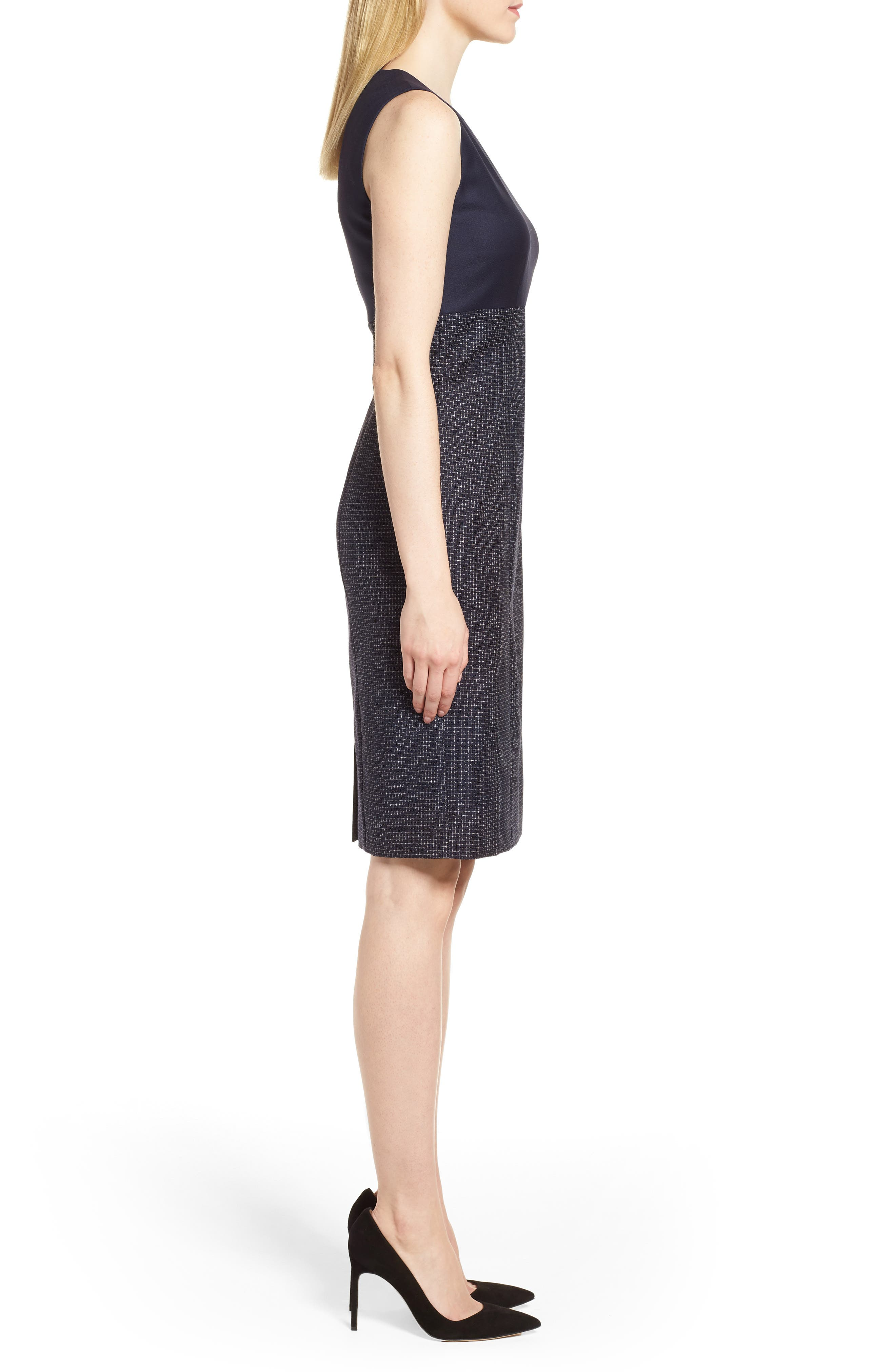 Dibena Windowpane Sheath Dress,                             Alternate thumbnail 3, color,