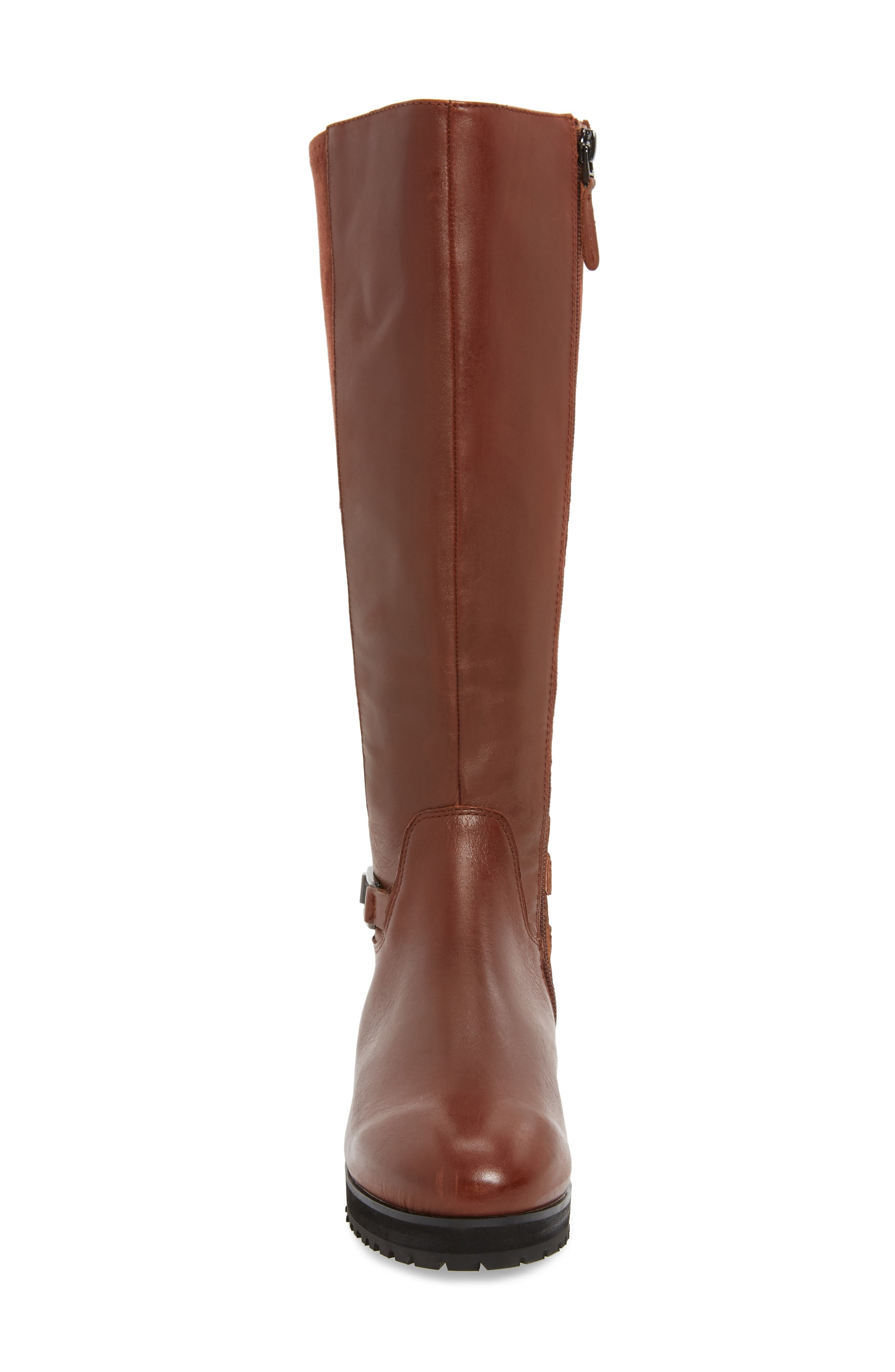 Frida Waterproof Knee High Boot,                             Alternate thumbnail 4, color,                             COGNAC