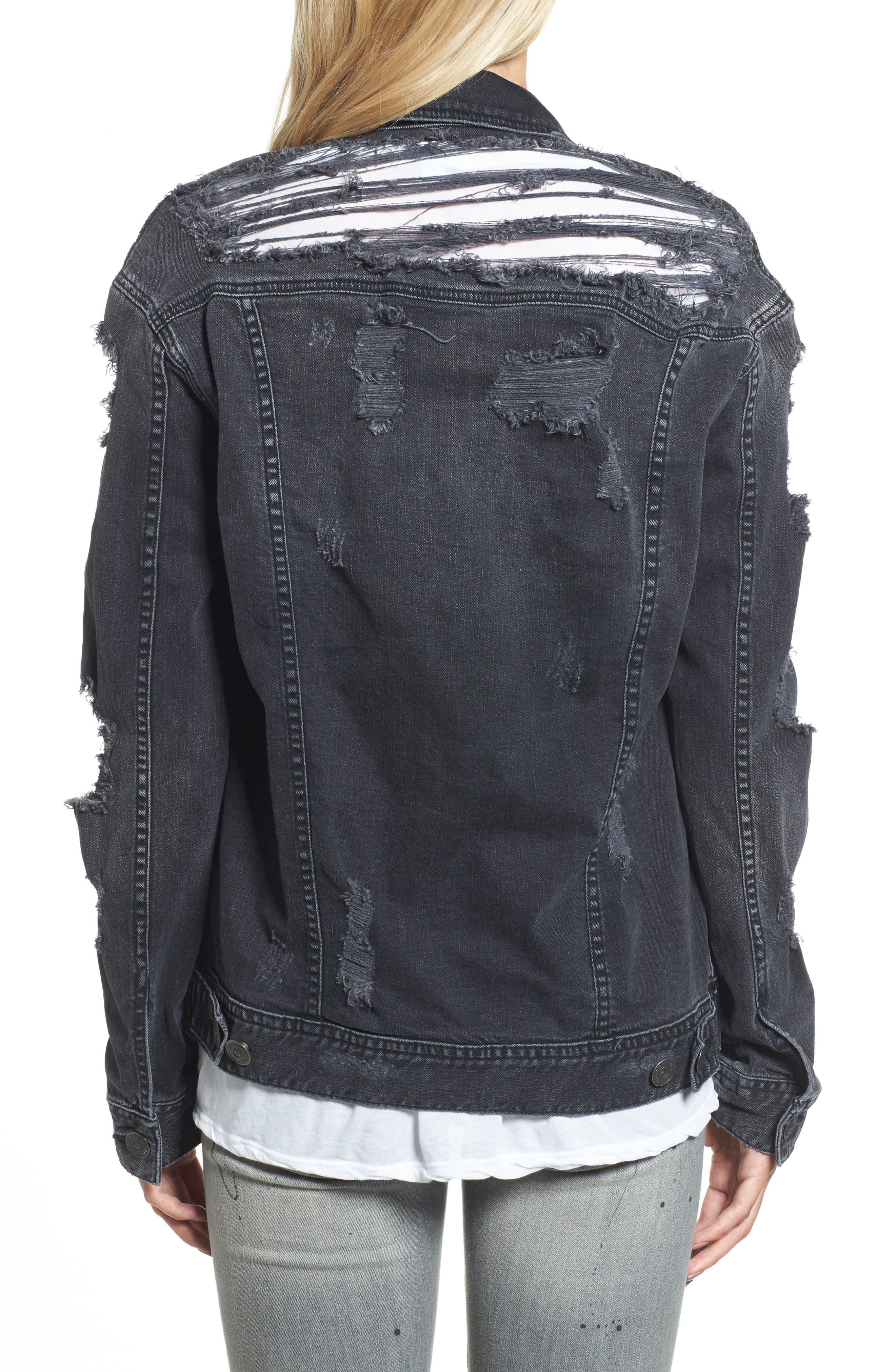 True Religion Danni Destroyed Denim Jacket,                             Alternate thumbnail 2, color,