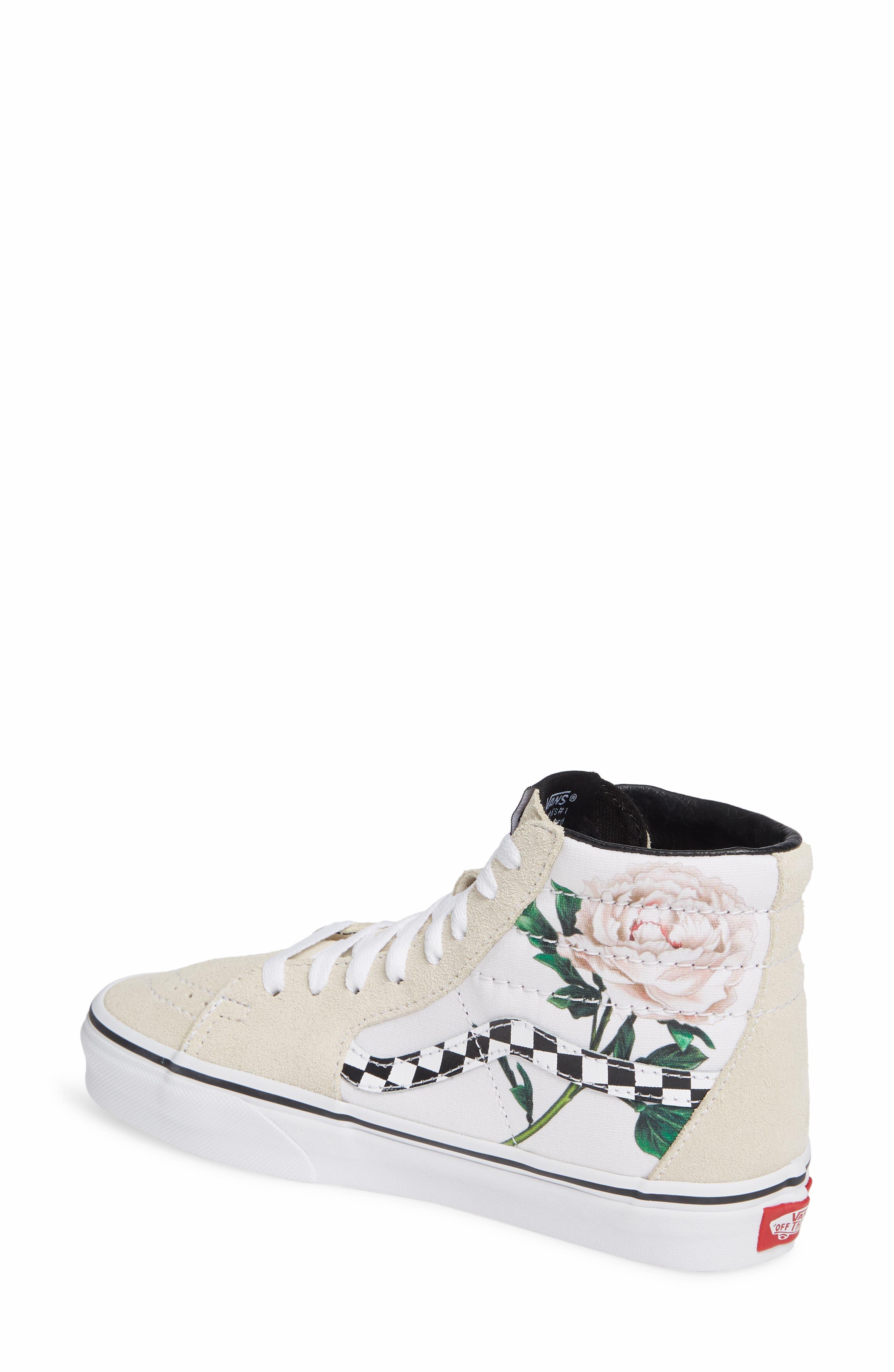 VANS,                             Sk8-Hi Checker Floral High Top Sneaker,                             Alternate thumbnail 2, color,                             CHECKER FLORAL TURTLEDOVE