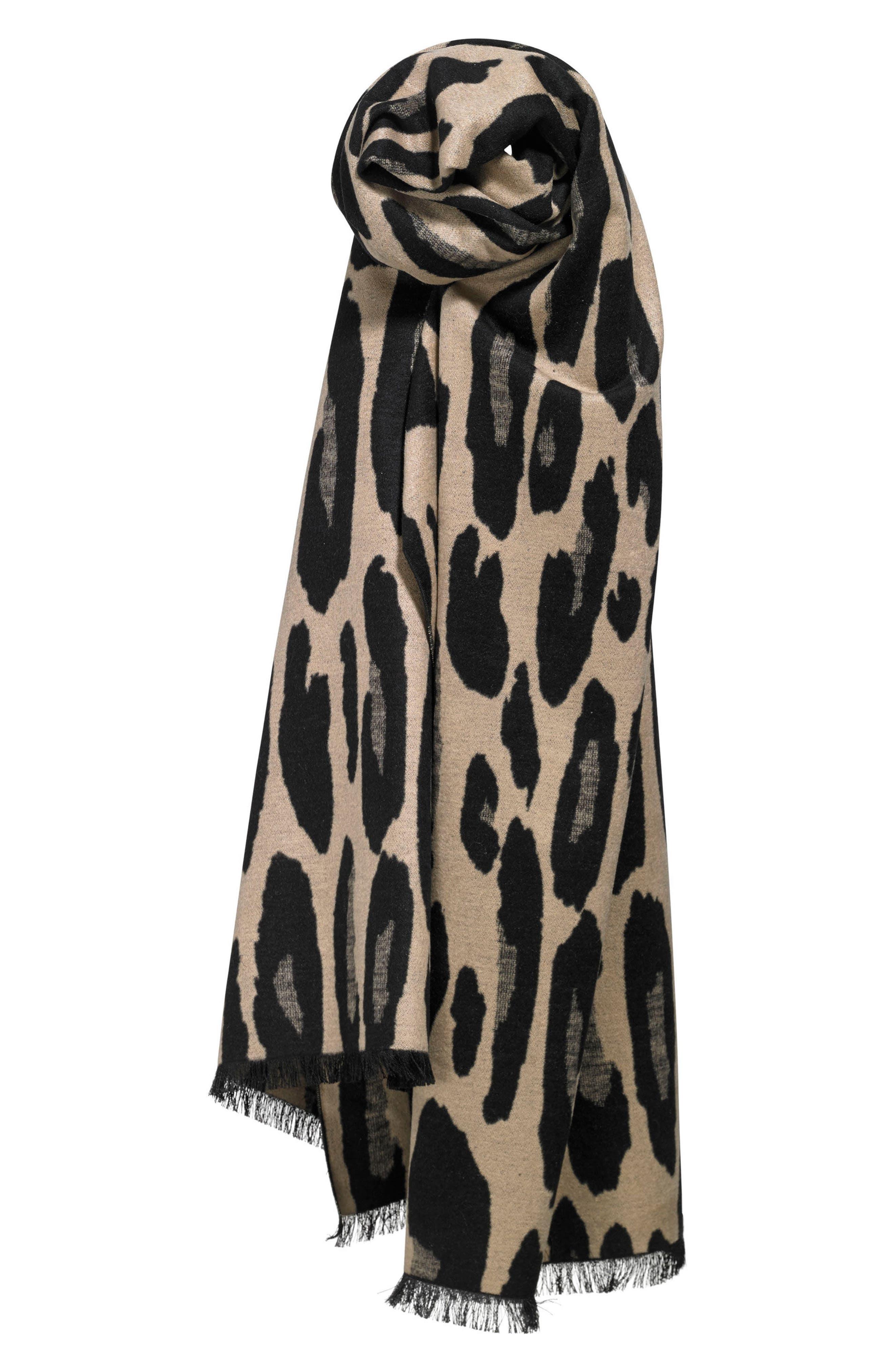 Leopard Print Brushed Silk Scarf,                             Alternate thumbnail 5, color,                             001