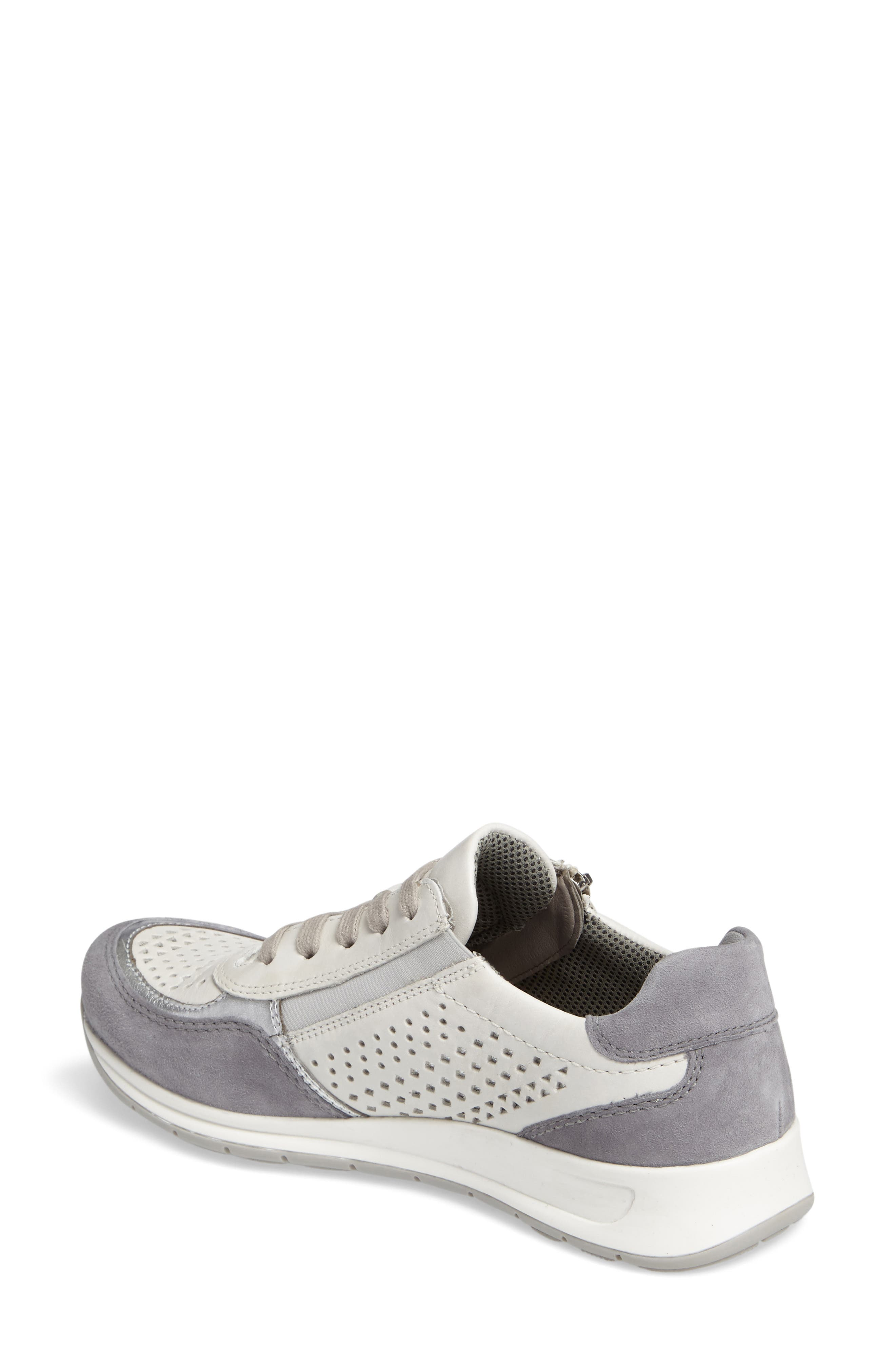 Olivia Perforated Sneaker,                             Alternate thumbnail 2, color,                             SILVER SUEDE