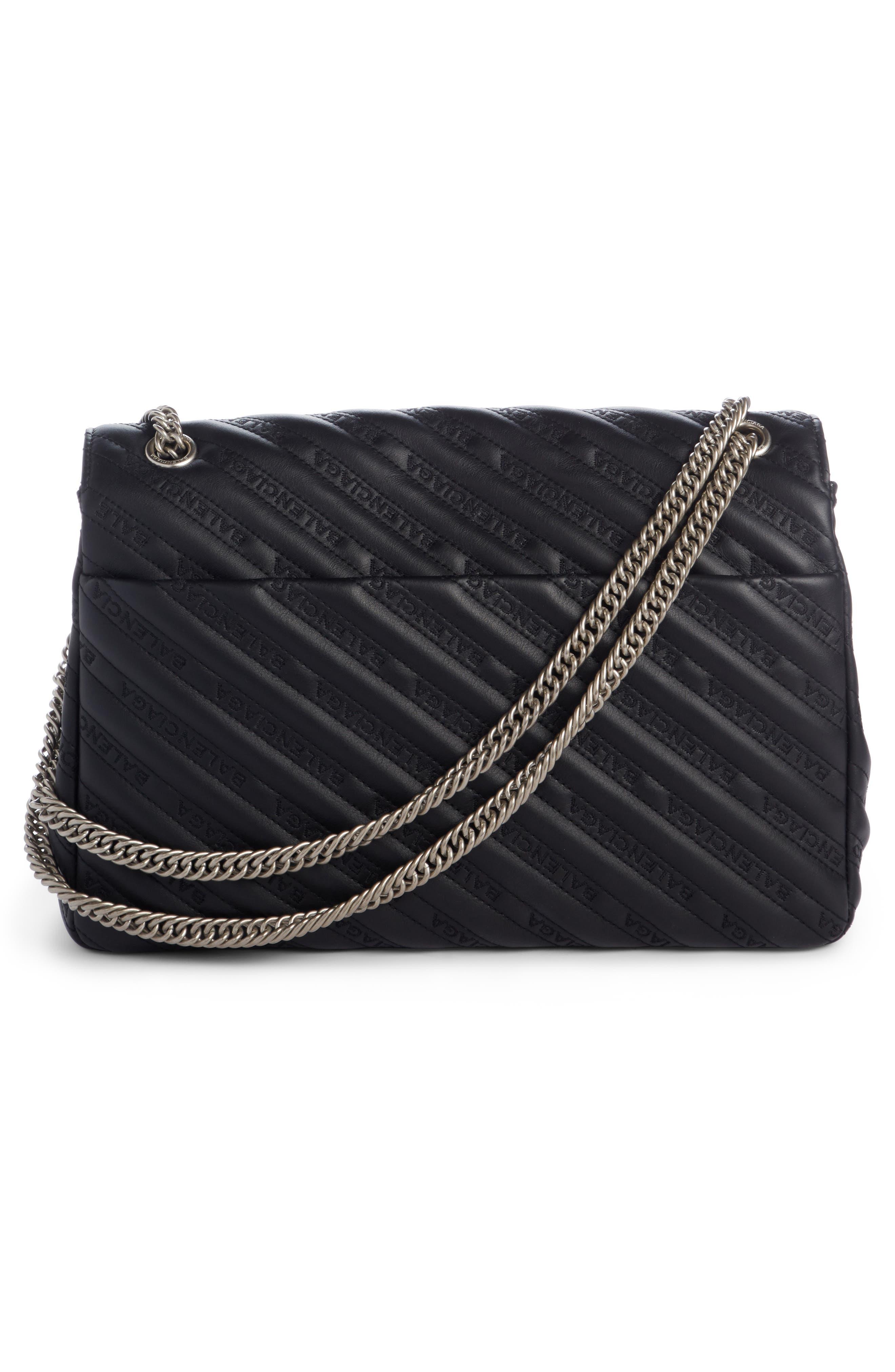 Matelassé Calfskin Leather Shoulder Bag,                             Alternate thumbnail 2, color,                             NOIR