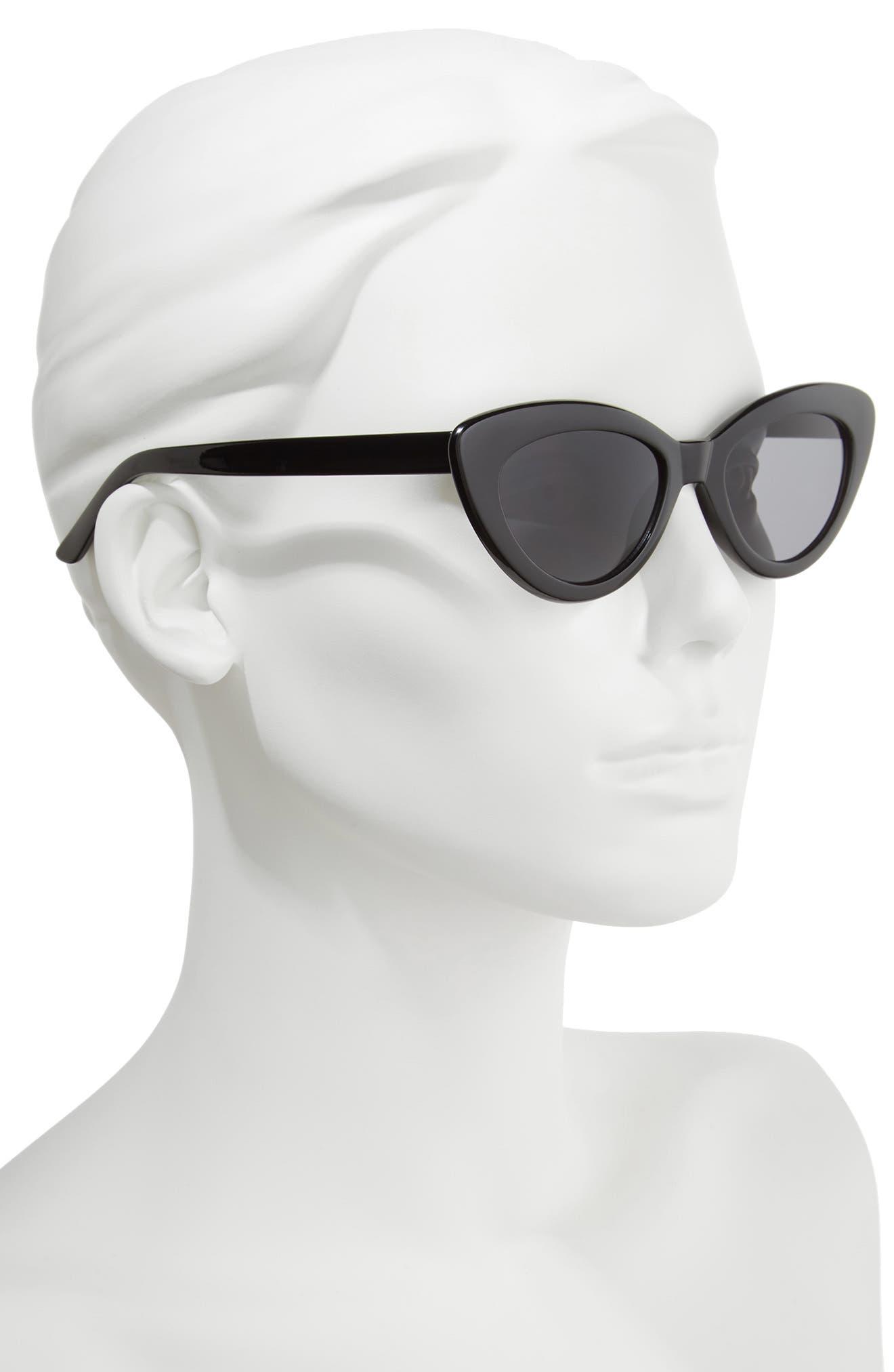 51mm Mini Cat Eye Sunglasses,                             Alternate thumbnail 2, color,                             001