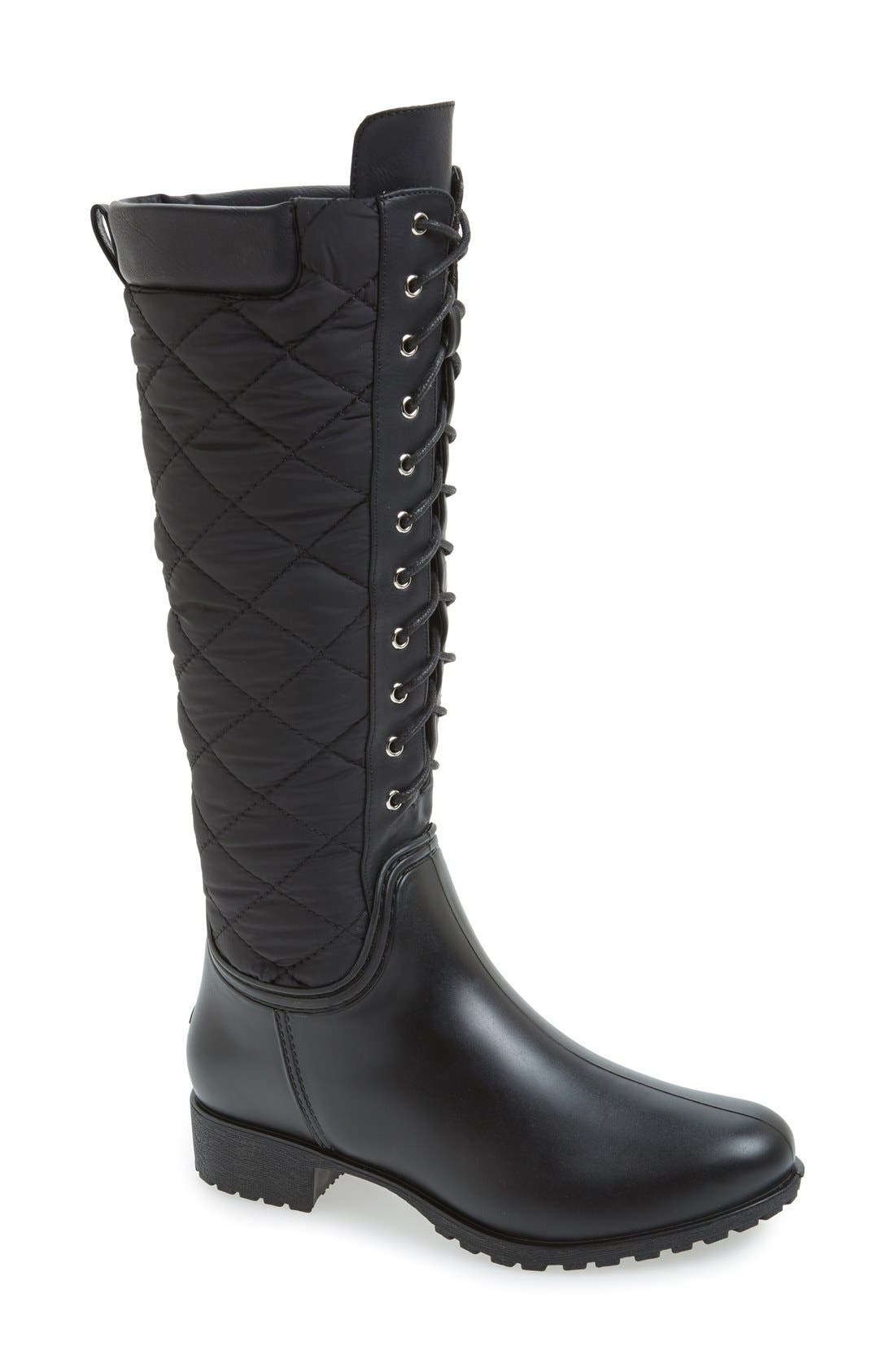 Tofino Quilted Tall Waterproof Rain Boot,                             Main thumbnail 1, color,                             001