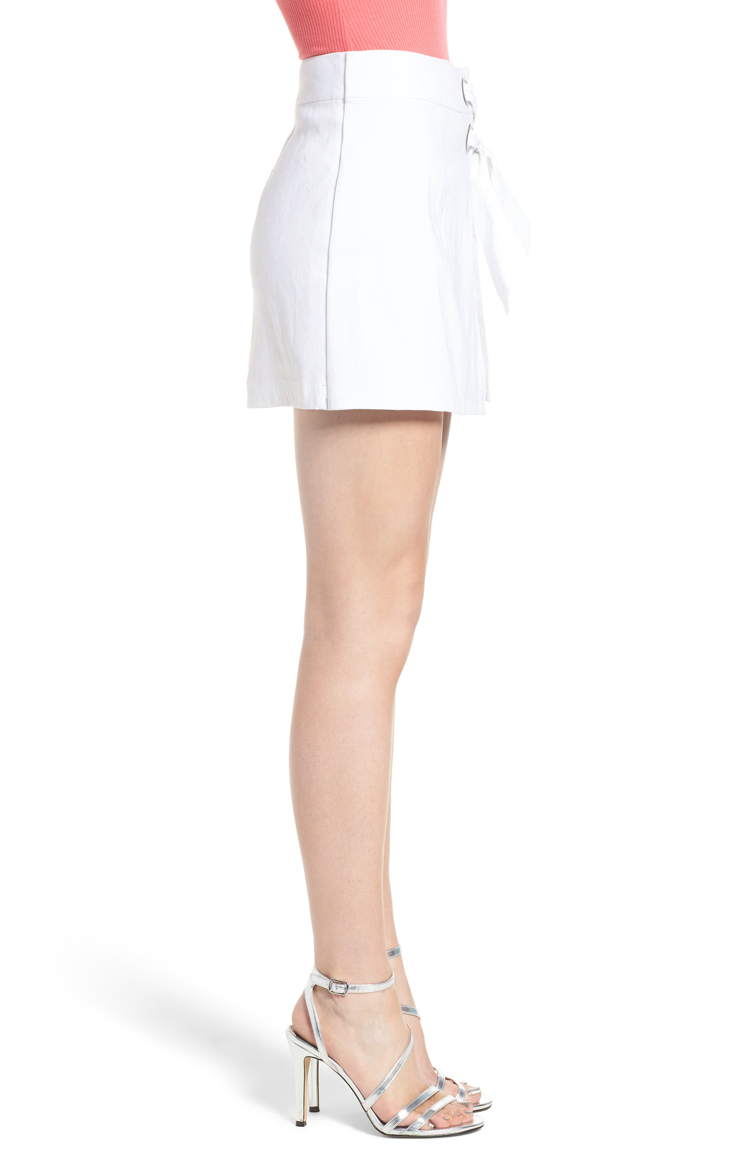Lace-Up Linen Blend Skort,                             Alternate thumbnail 3, color,                             100
